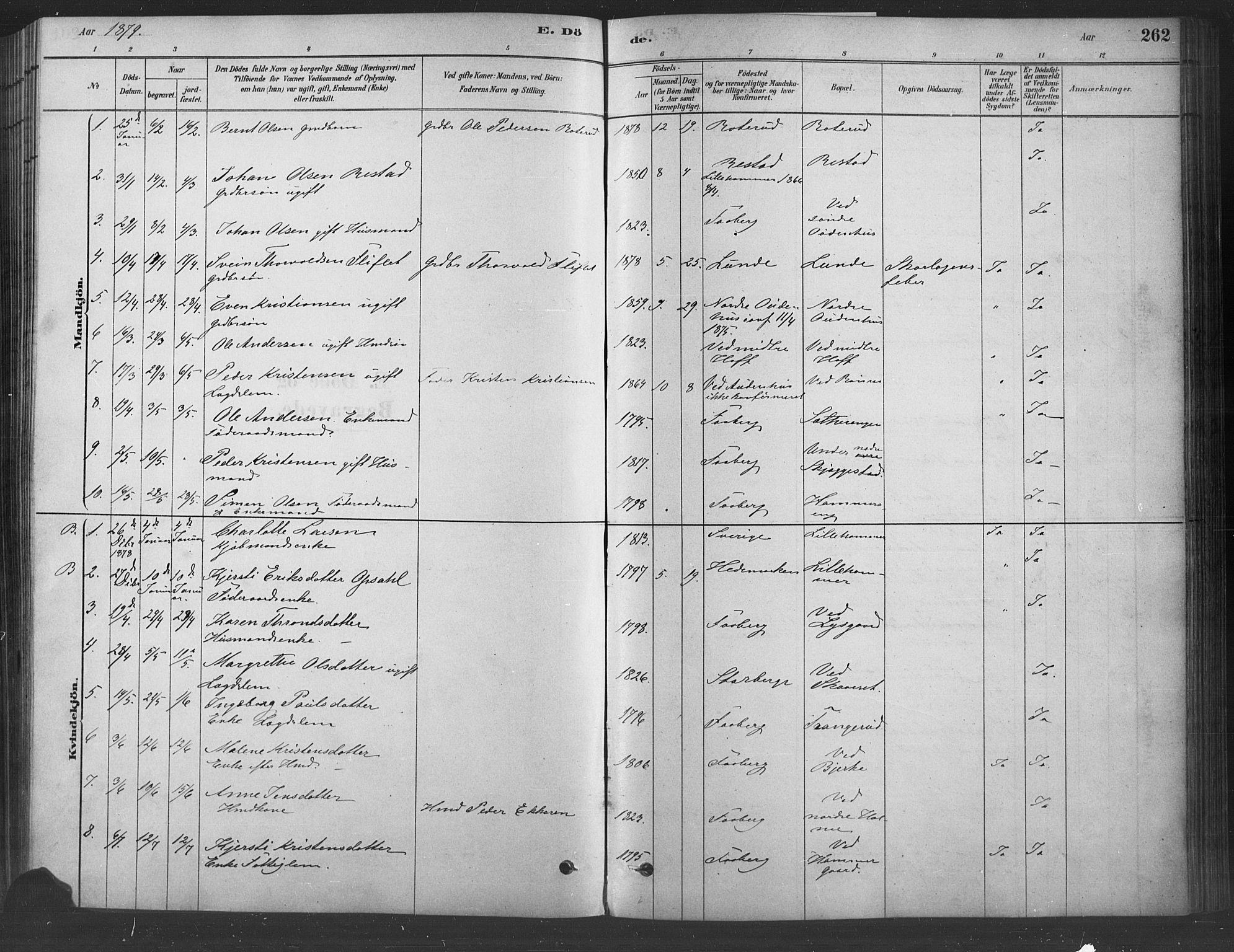 SAH, Fåberg prestekontor, Ministerialbok nr. 9, 1879-1898, s. 262
