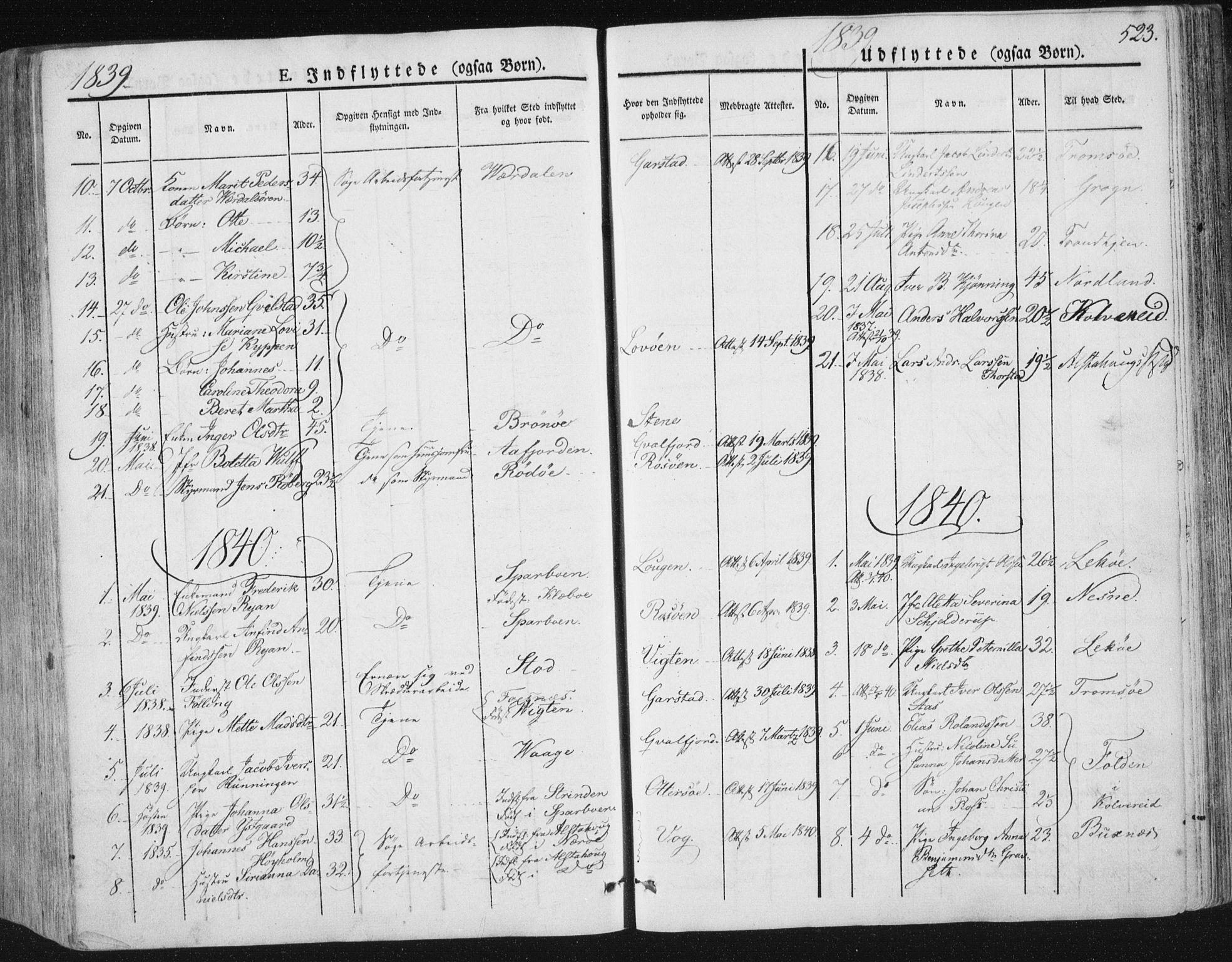SAT, Ministerialprotokoller, klokkerbøker og fødselsregistre - Nord-Trøndelag, 784/L0669: Ministerialbok nr. 784A04, 1829-1859, s. 523