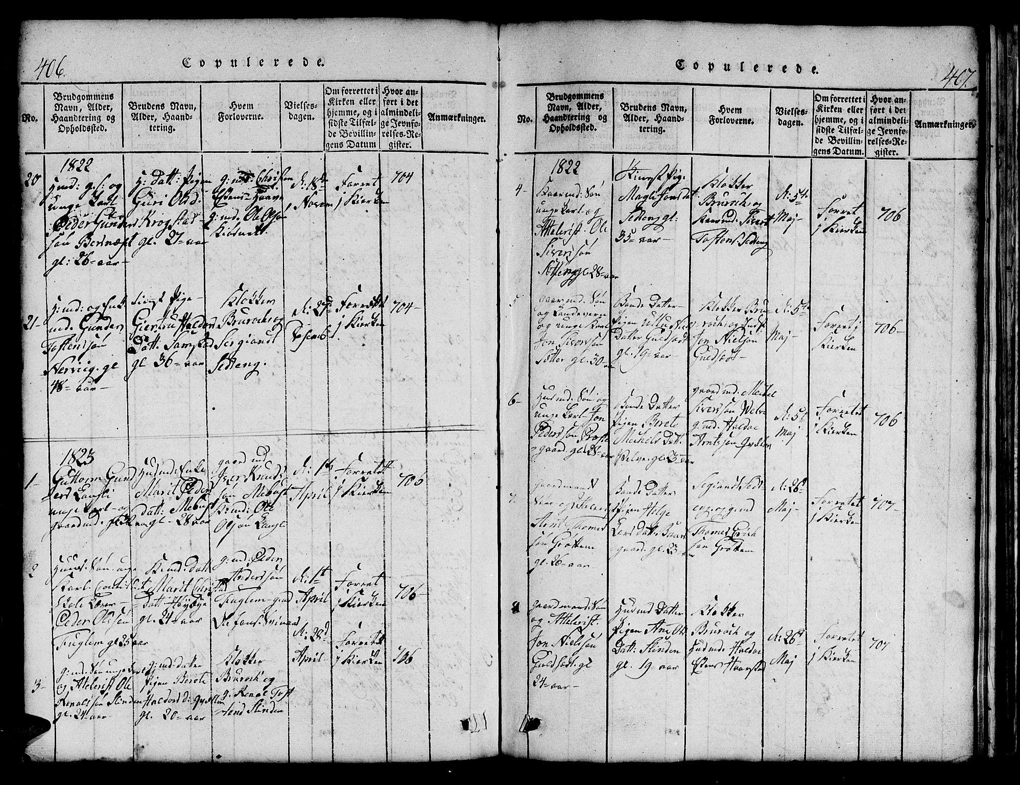 SAT, Ministerialprotokoller, klokkerbøker og fødselsregistre - Sør-Trøndelag, 695/L1152: Klokkerbok nr. 695C03, 1816-1831, s. 406-407