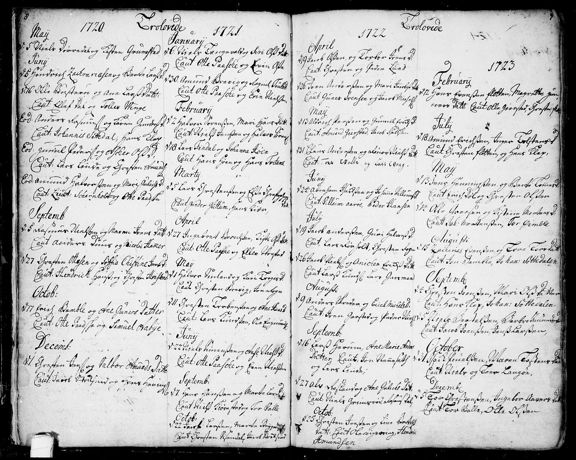 SAKO, Bamble kirkebøker, F/Fa/L0001: Ministerialbok nr. I 1, 1702-1774, s. 8-9