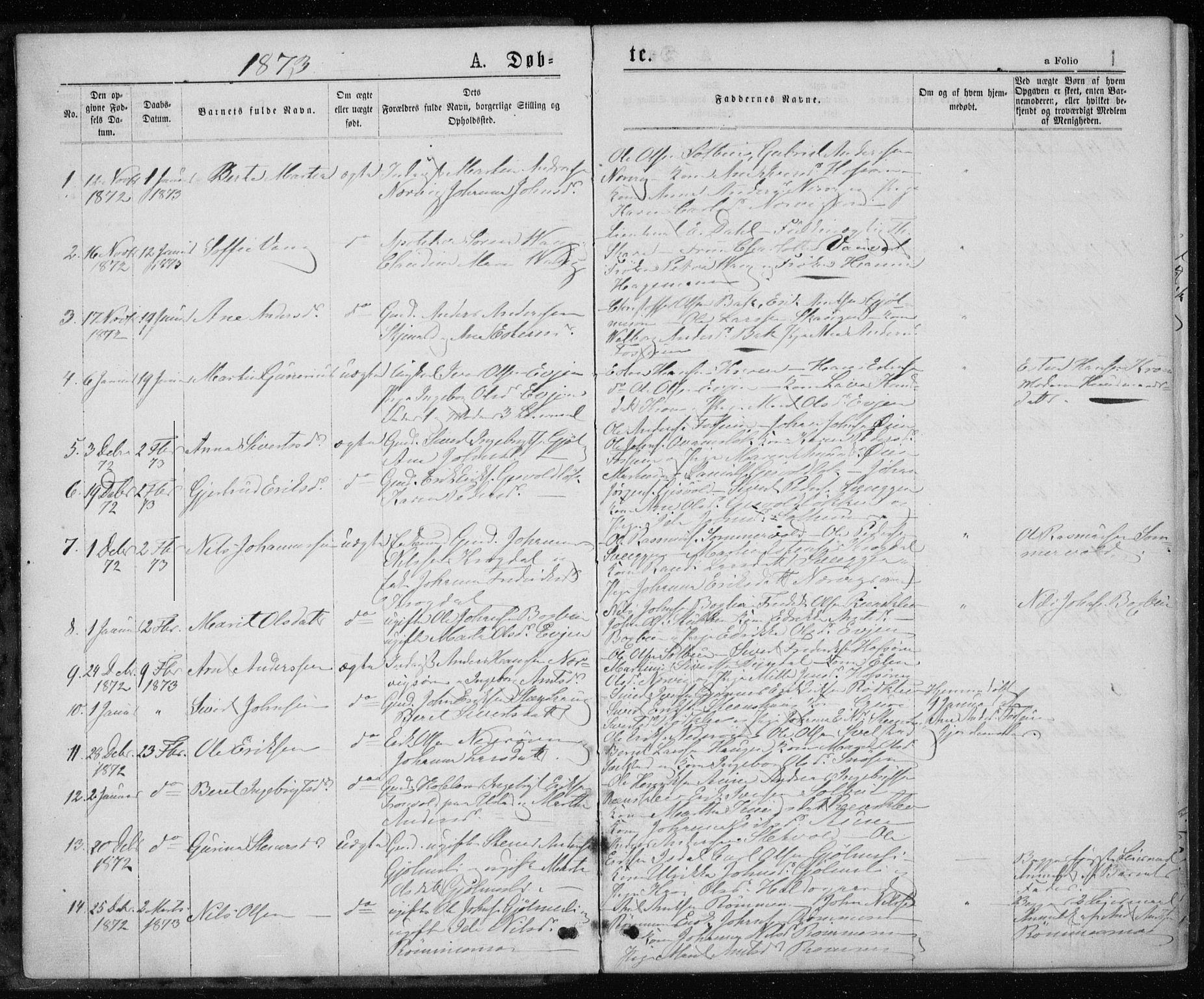 SAT, Ministerialprotokoller, klokkerbøker og fødselsregistre - Sør-Trøndelag, 668/L0817: Klokkerbok nr. 668C06, 1873-1884, s. 1