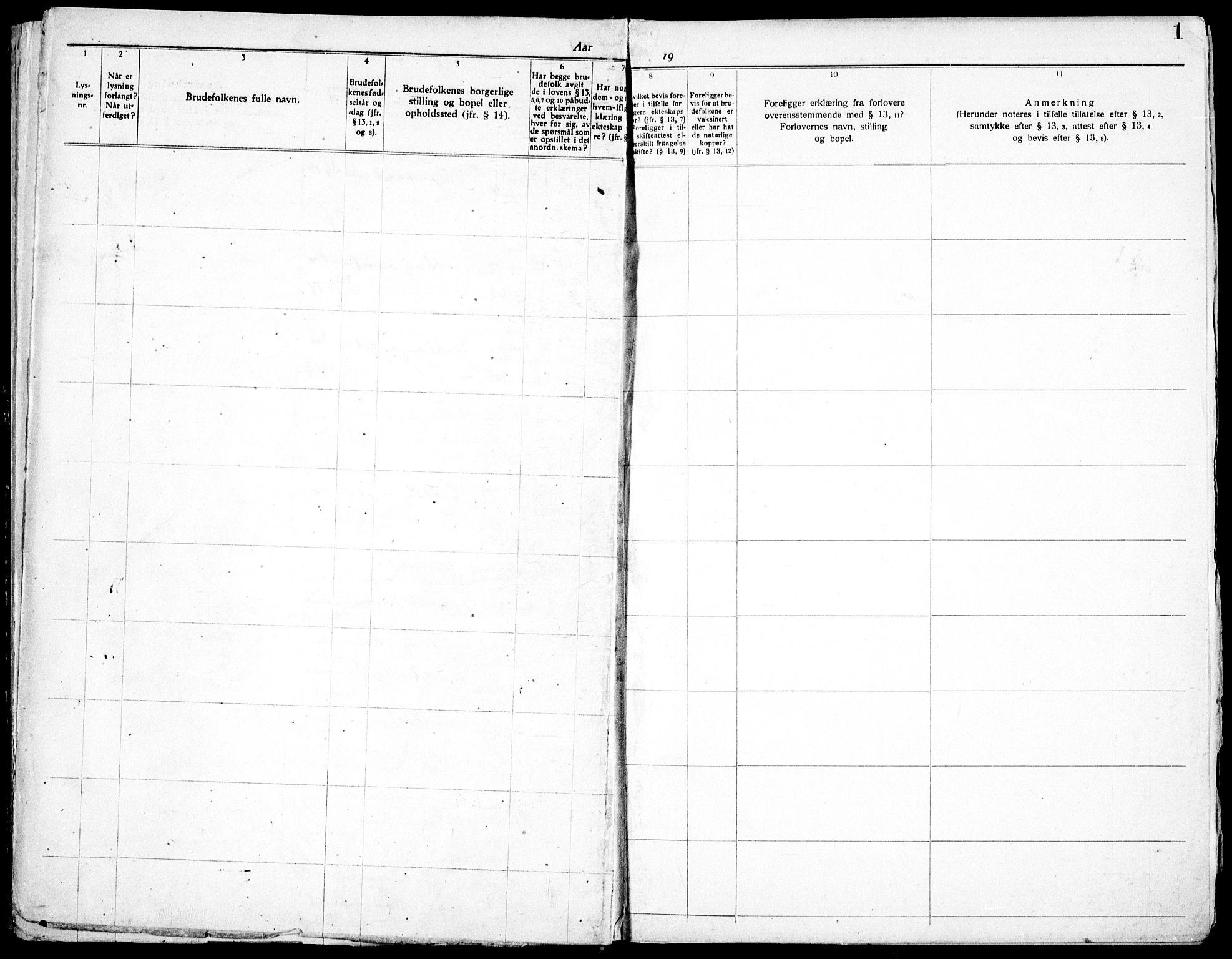 SAO, Skedsmo prestekontor Kirkebøker, H/Hc/L0001: Lysningsprotokoll nr. III 1, 1919-1938, s. 1