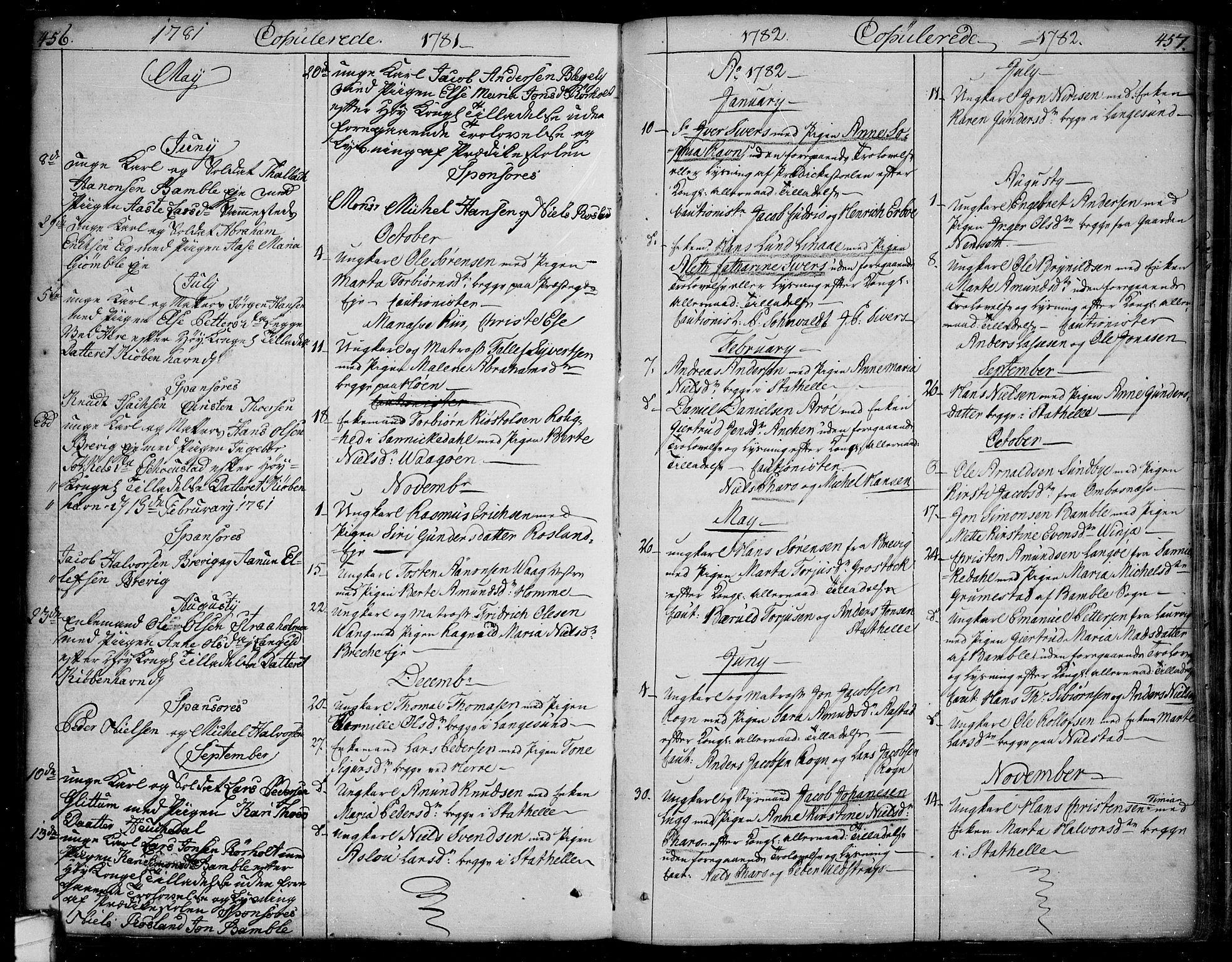 SAKO, Bamble kirkebøker, F/Fa/L0002: Ministerialbok nr. I 2, 1775-1814, s. 456-457