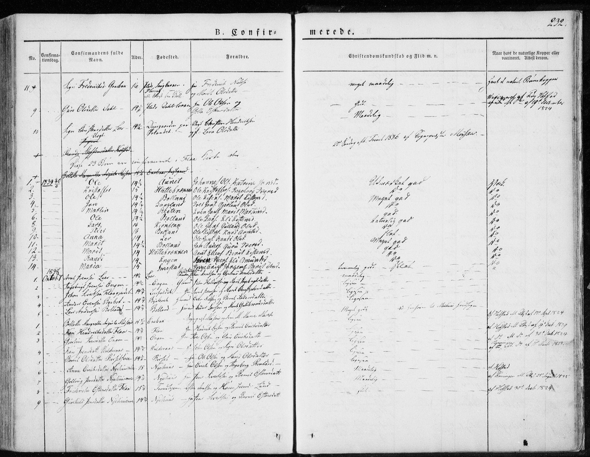 SAT, Ministerialprotokoller, klokkerbøker og fødselsregistre - Sør-Trøndelag, 691/L1069: Ministerialbok nr. 691A04, 1826-1841, s. 232