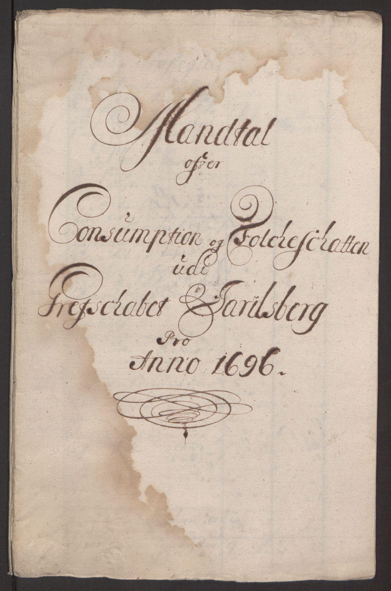 RA, Rentekammeret inntil 1814, Reviderte regnskaper, Fogderegnskap, R32/L1867: Fogderegnskap Jarlsberg grevskap, 1694-1696, s. 275