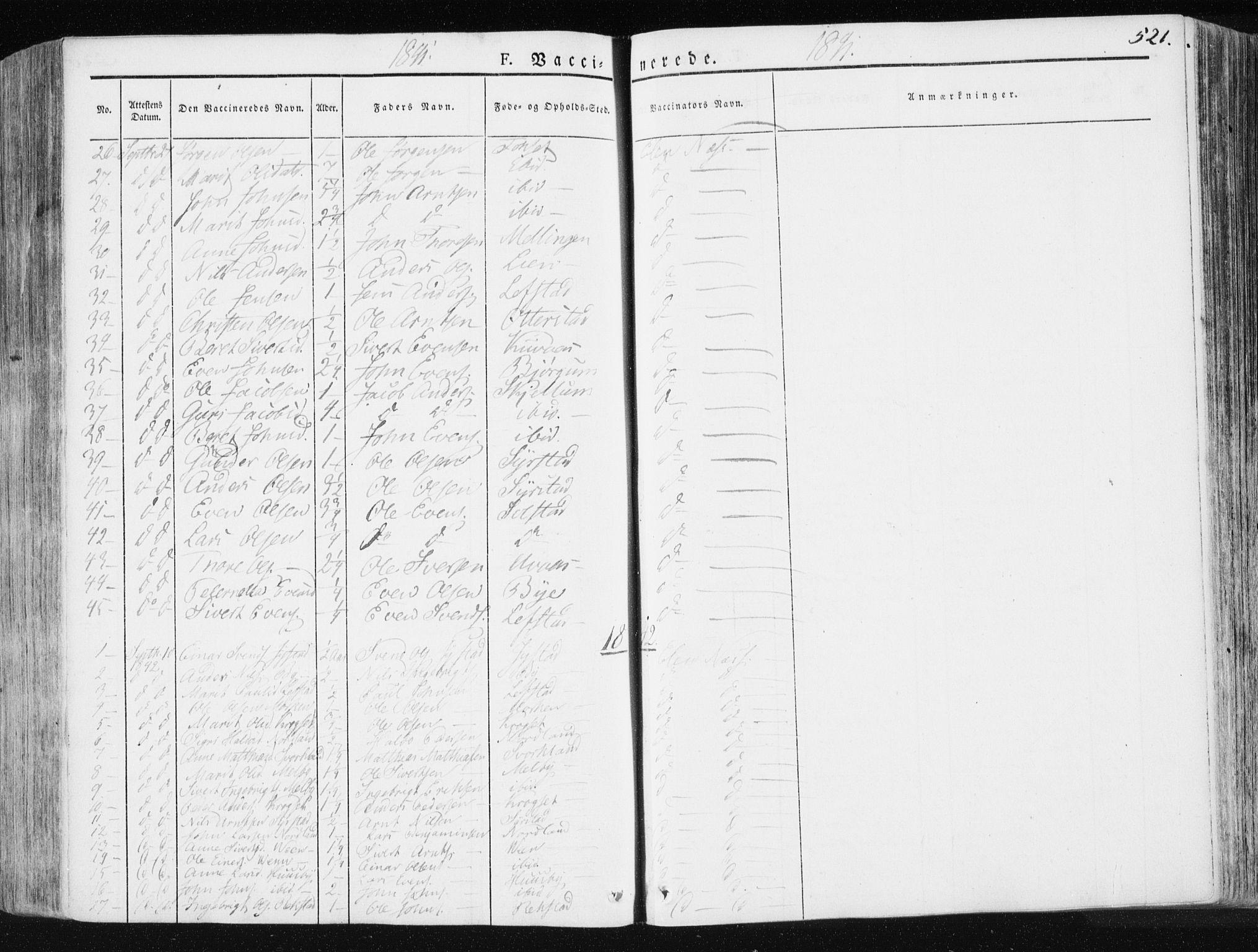SAT, Ministerialprotokoller, klokkerbøker og fødselsregistre - Sør-Trøndelag, 665/L0771: Ministerialbok nr. 665A06, 1830-1856, s. 521