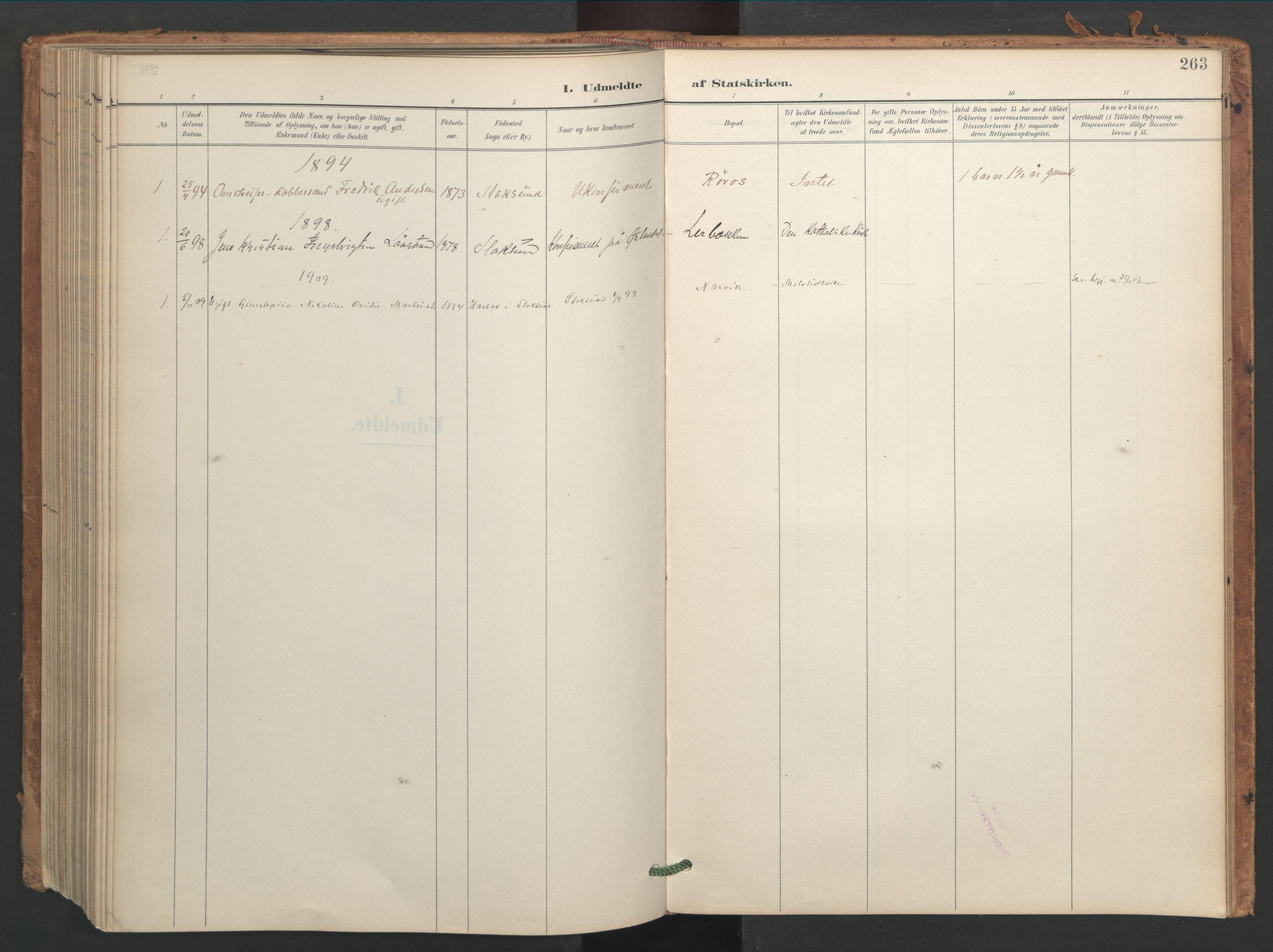SAT, Ministerialprotokoller, klokkerbøker og fødselsregistre - Sør-Trøndelag, 656/L0693: Ministerialbok nr. 656A02, 1894-1913, s. 263