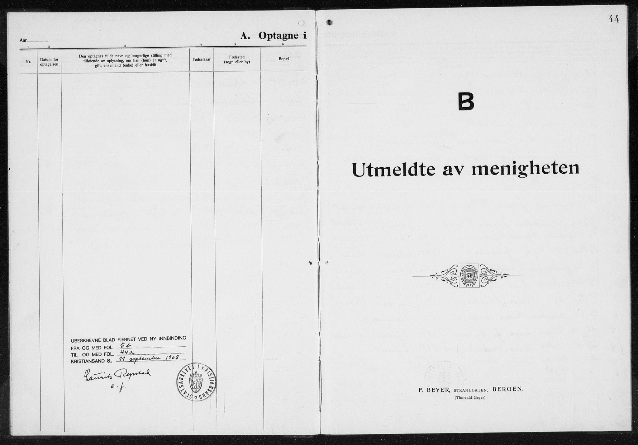 SAK, Baptistmenigheten i Gyland, F/Fa/L0001: Dissenterprotokoll nr. F 1, 1902-1937, s. 44
