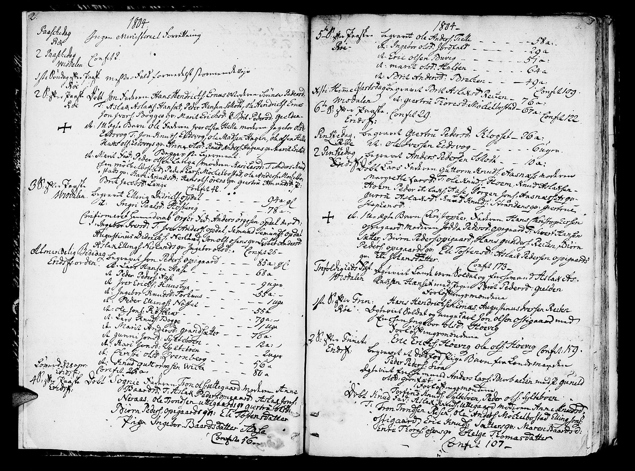 SAT, Ministerialprotokoller, klokkerbøker og fødselsregistre - Møre og Romsdal, 551/L0622: Ministerialbok nr. 551A02, 1804-1845, s. 2-3