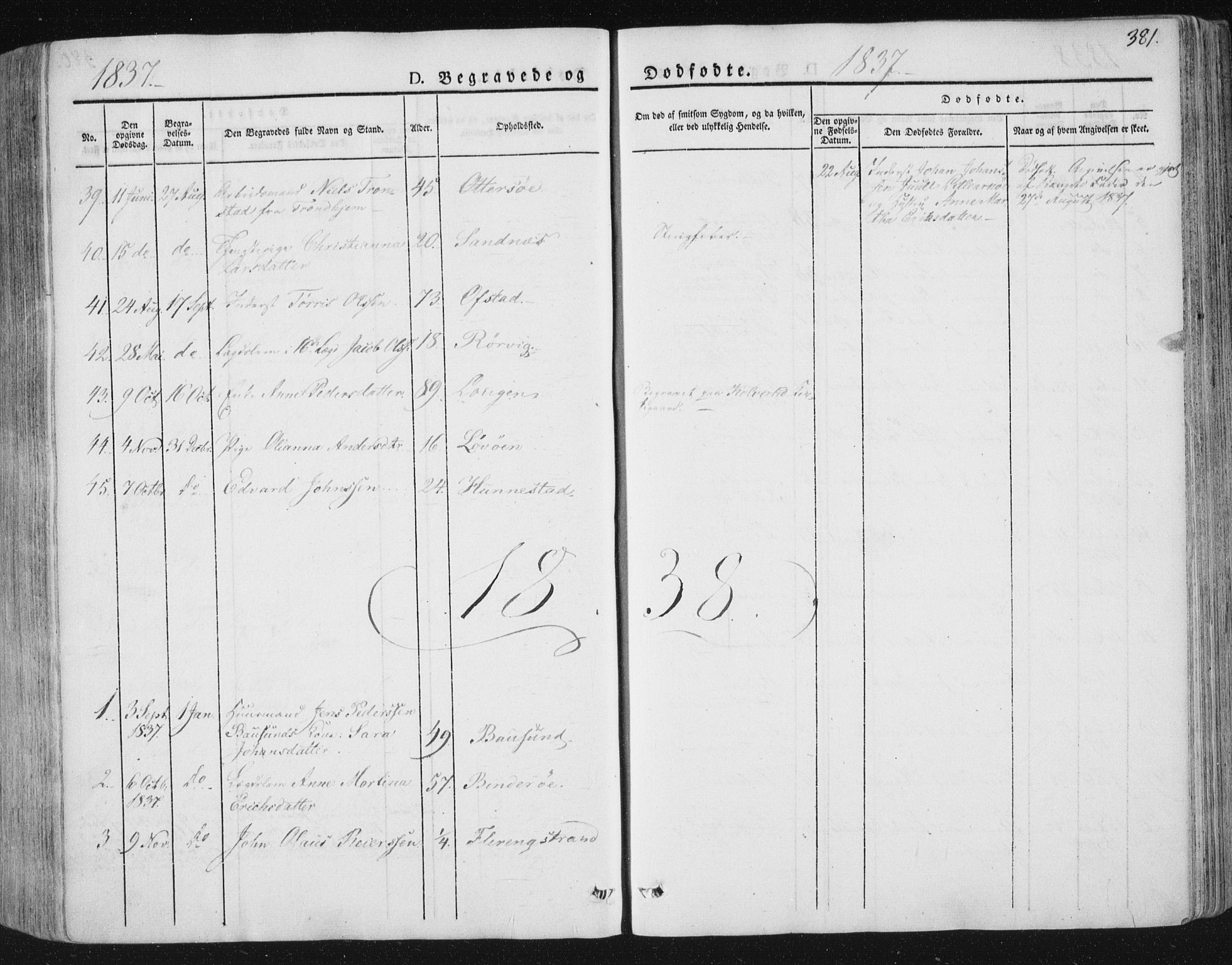 SAT, Ministerialprotokoller, klokkerbøker og fødselsregistre - Nord-Trøndelag, 784/L0669: Ministerialbok nr. 784A04, 1829-1859, s. 381