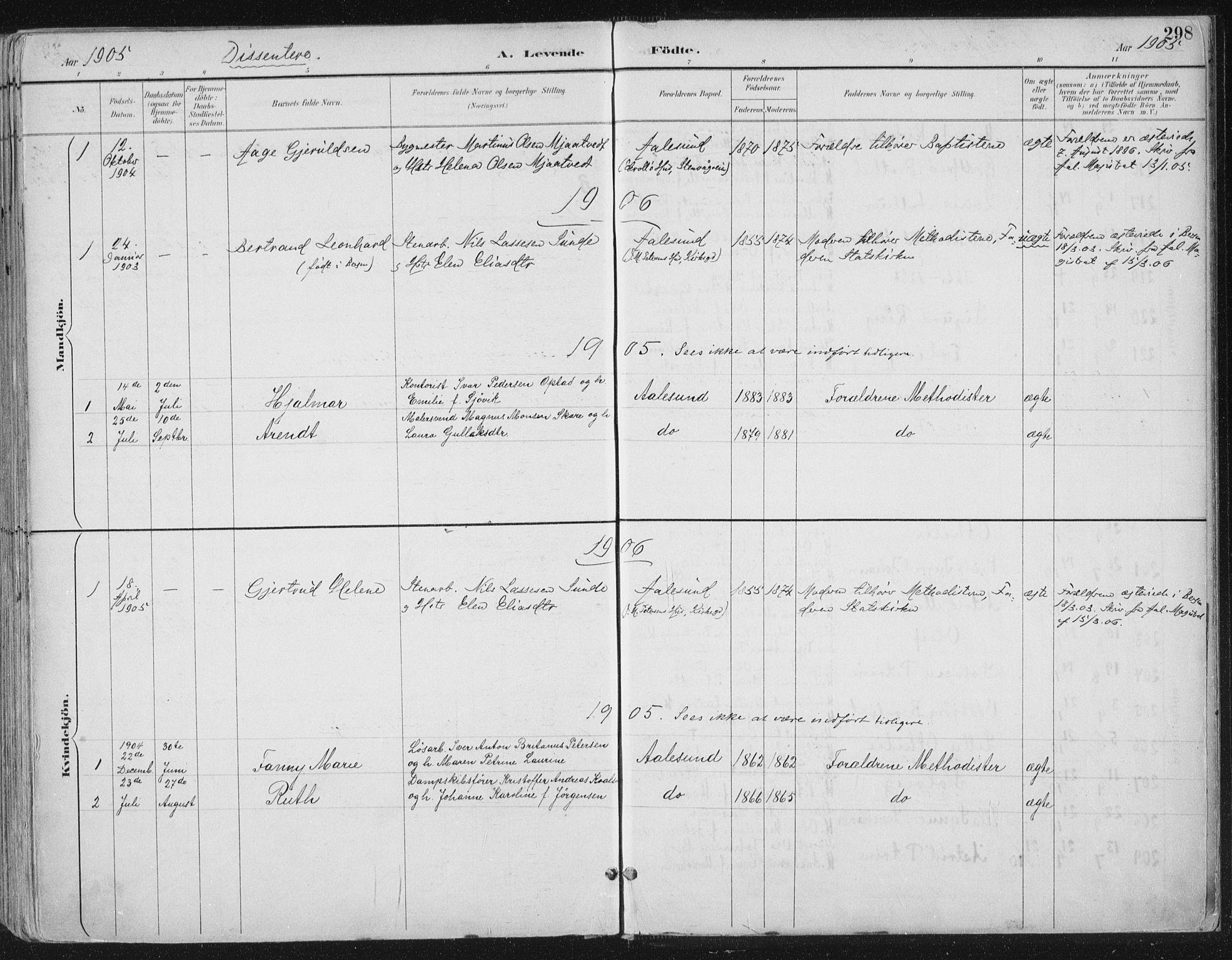 SAT, Ministerialprotokoller, klokkerbøker og fødselsregistre - Møre og Romsdal, 529/L0456: Ministerialbok nr. 529A06, 1894-1906, s. 298