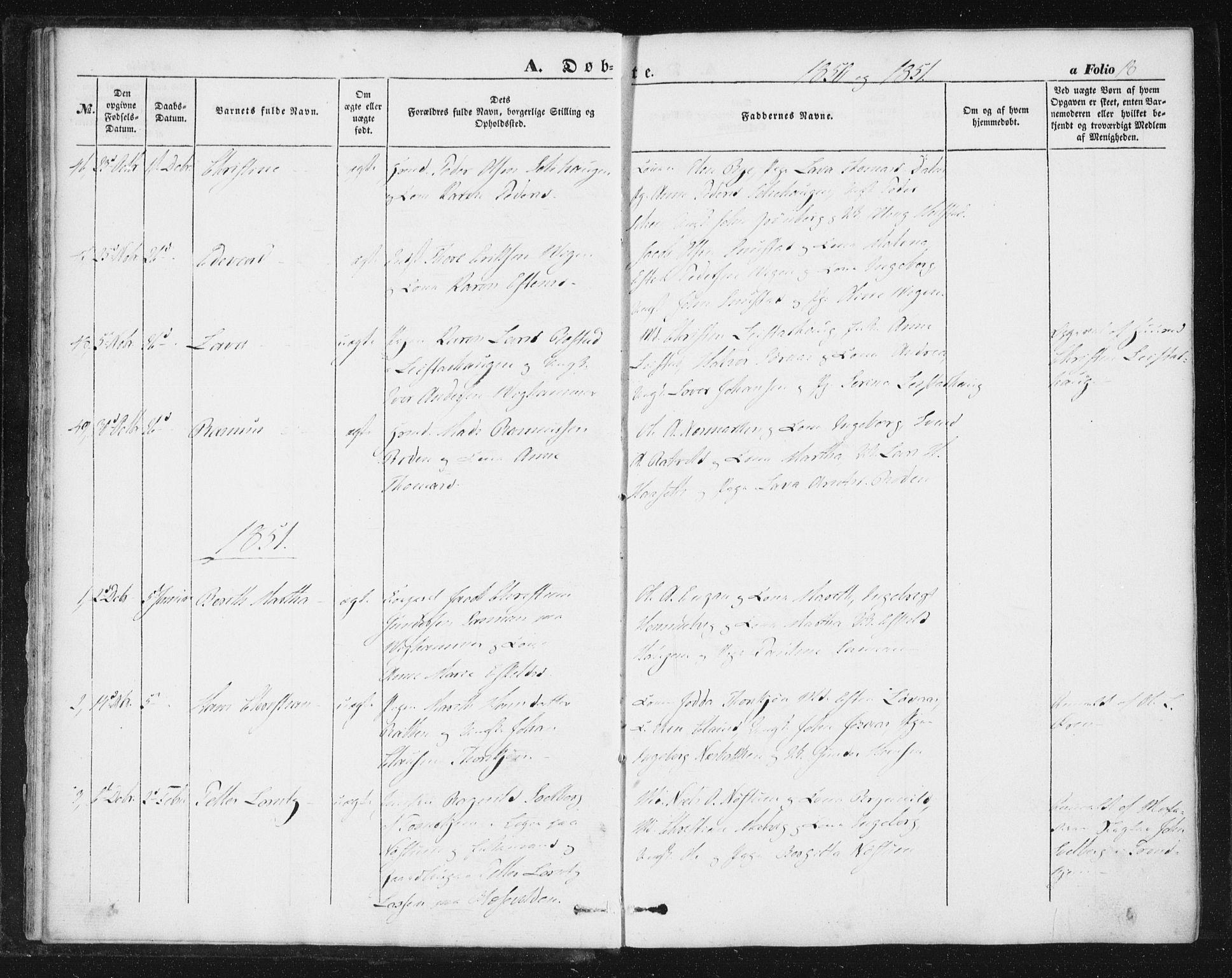 SAT, Ministerialprotokoller, klokkerbøker og fødselsregistre - Sør-Trøndelag, 616/L0407: Ministerialbok nr. 616A04, 1848-1856, s. 18