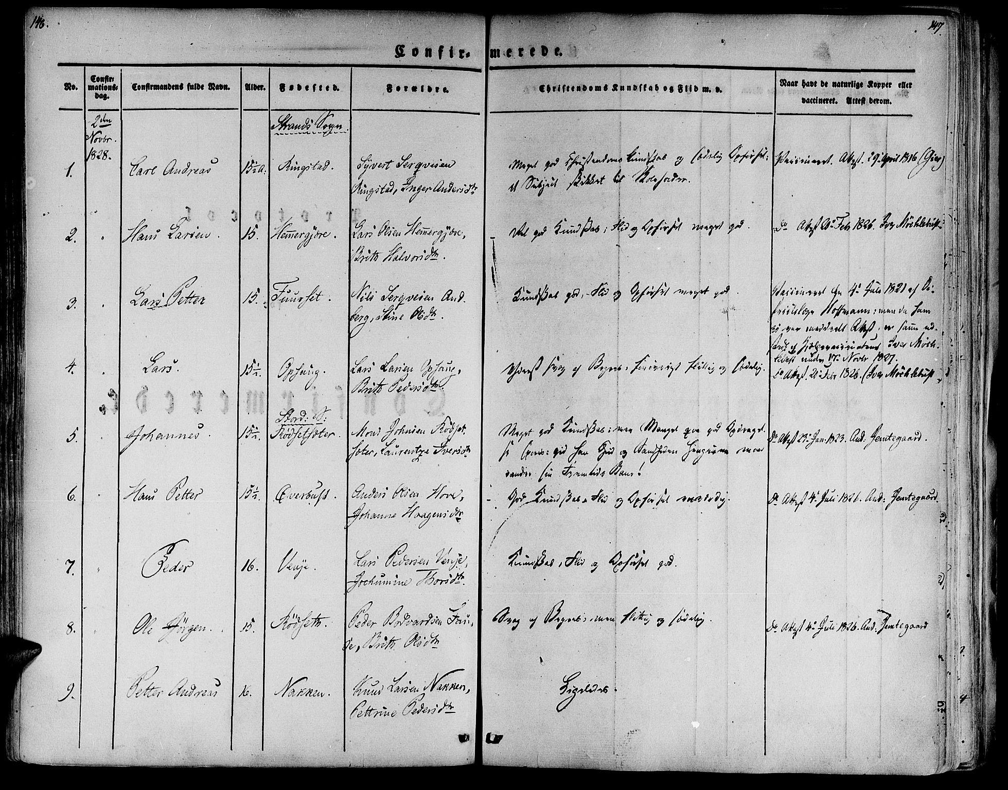 SAT, Ministerialprotokoller, klokkerbøker og fødselsregistre - Møre og Romsdal, 520/L0274: Ministerialbok nr. 520A04, 1827-1864, s. 146-147