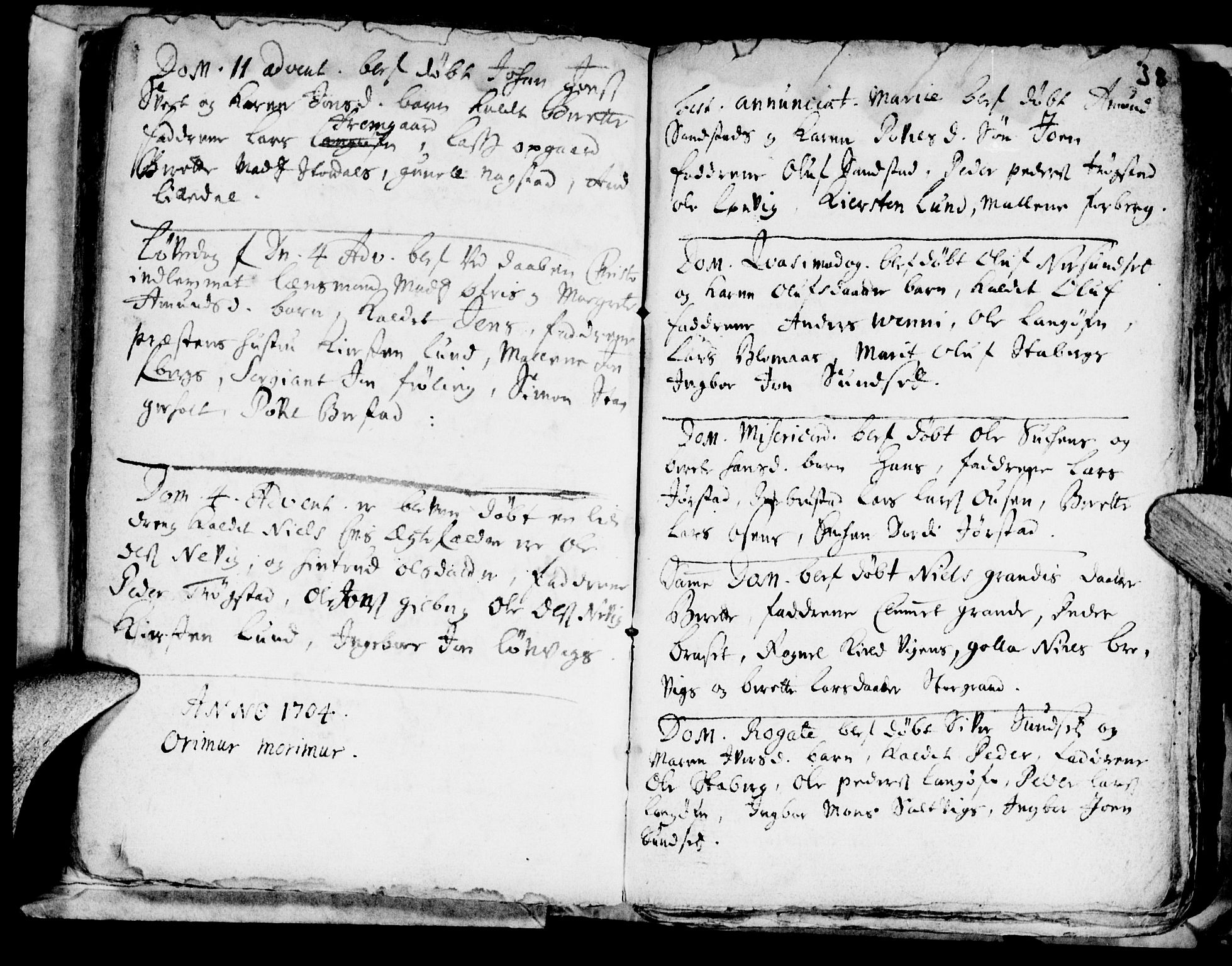 SAT, Ministerialprotokoller, klokkerbøker og fødselsregistre - Nord-Trøndelag, 722/L0214: Ministerialbok nr. 722A01, 1692-1718, s. 38