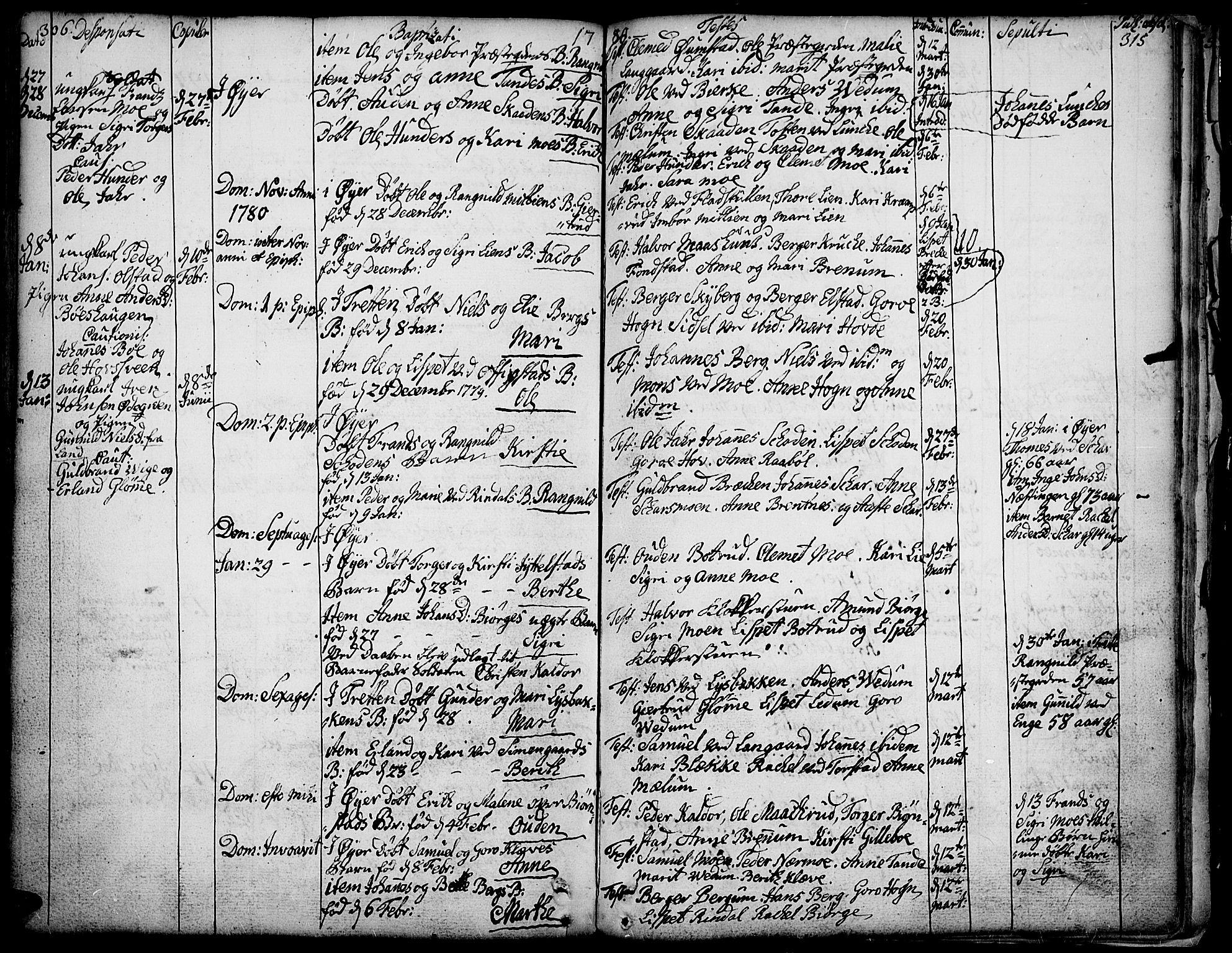 SAH, Øyer prestekontor, Ministerialbok nr. 2, 1733-1784, s. 306-315