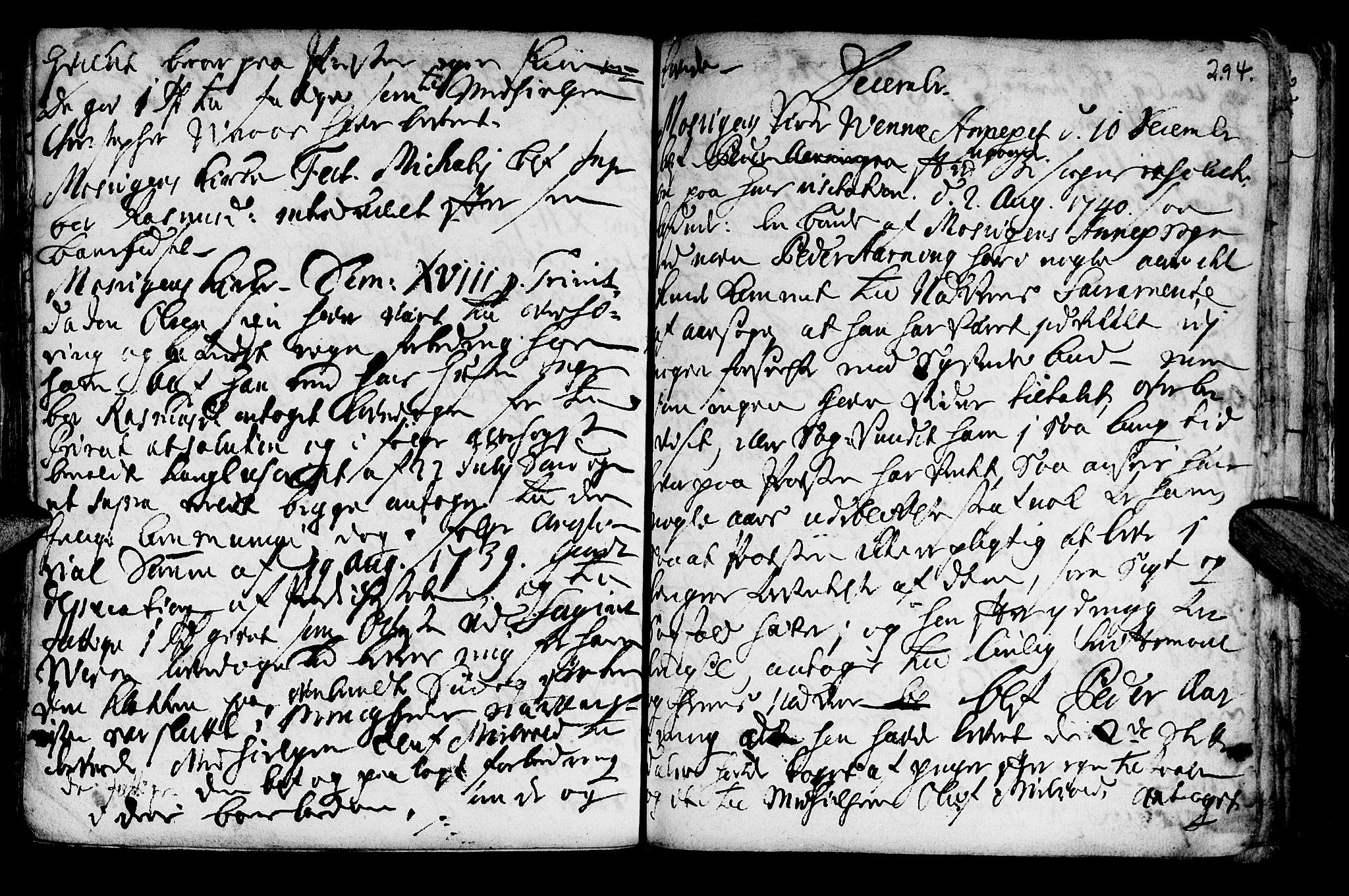 SAT, Ministerialprotokoller, klokkerbøker og fødselsregistre - Nord-Trøndelag, 722/L0215: Ministerialbok nr. 722A02, 1718-1755, s. 294