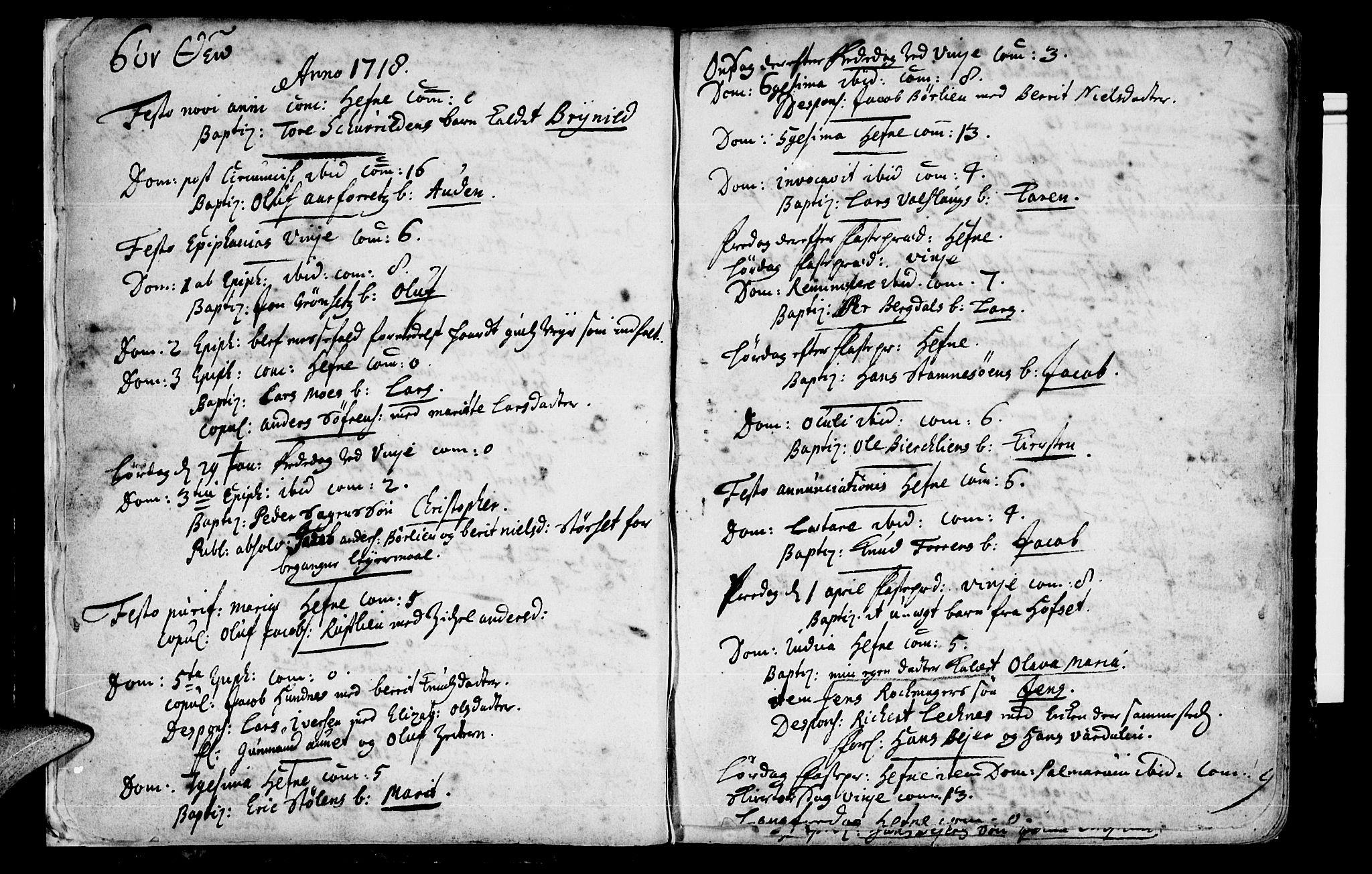 SAT, Ministerialprotokoller, klokkerbøker og fødselsregistre - Sør-Trøndelag, 630/L0488: Ministerialbok nr. 630A01, 1717-1756, s. 6-7