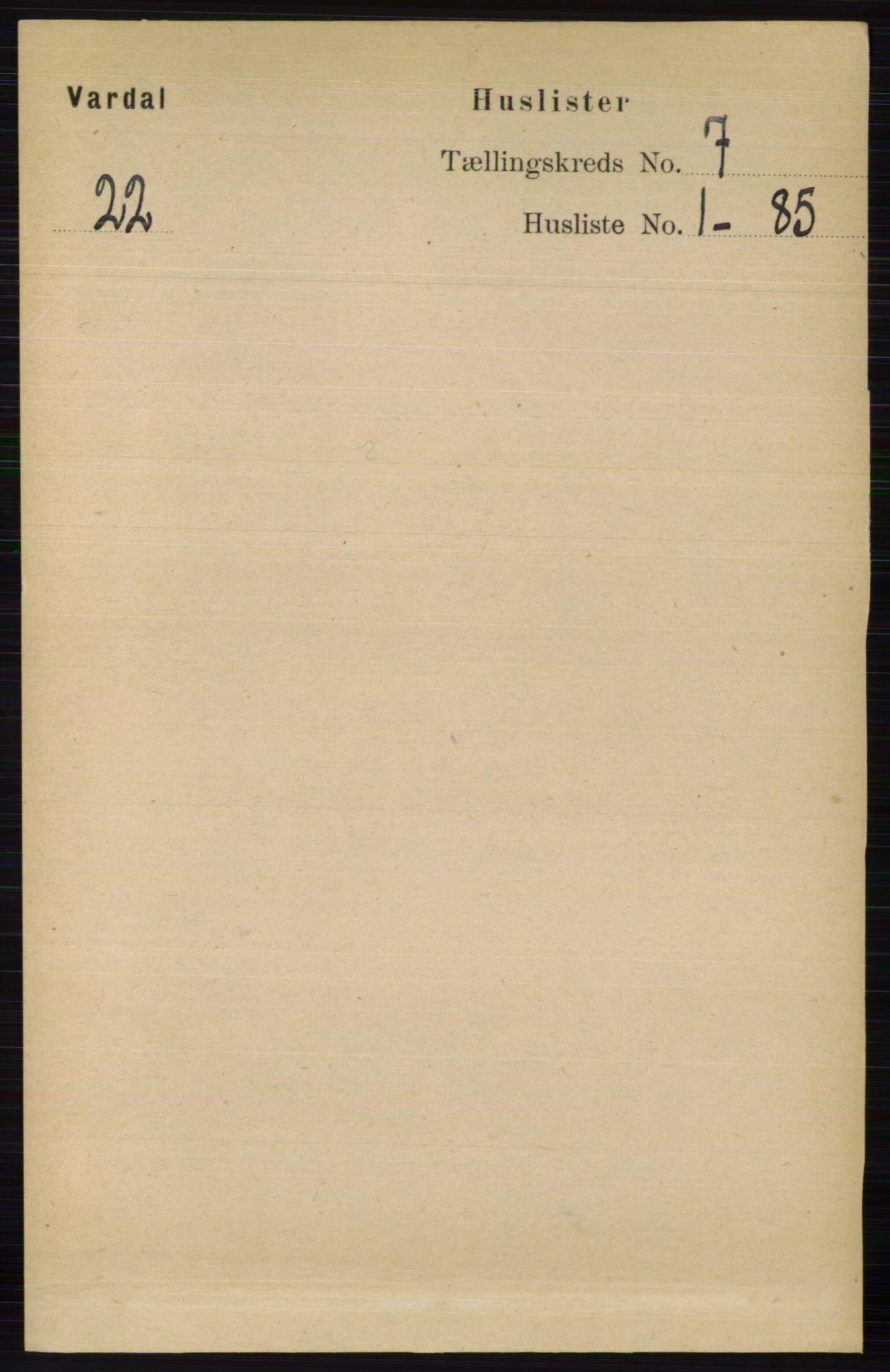 RA, Folketelling 1891 for 0527 Vardal herred, 1891, s. 2881