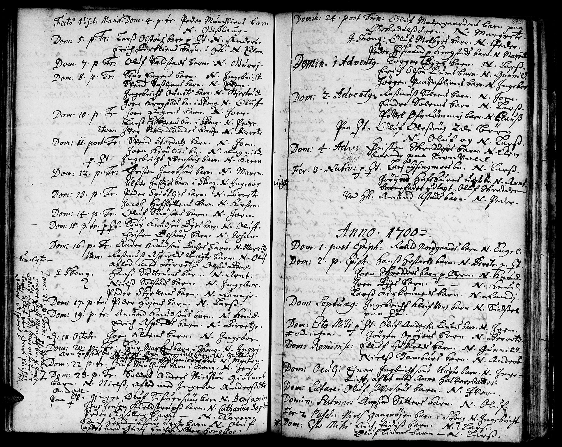 SAT, Ministerialprotokoller, klokkerbøker og fødselsregistre - Sør-Trøndelag, 668/L0801: Ministerialbok nr. 668A01, 1695-1716, s. 272-273