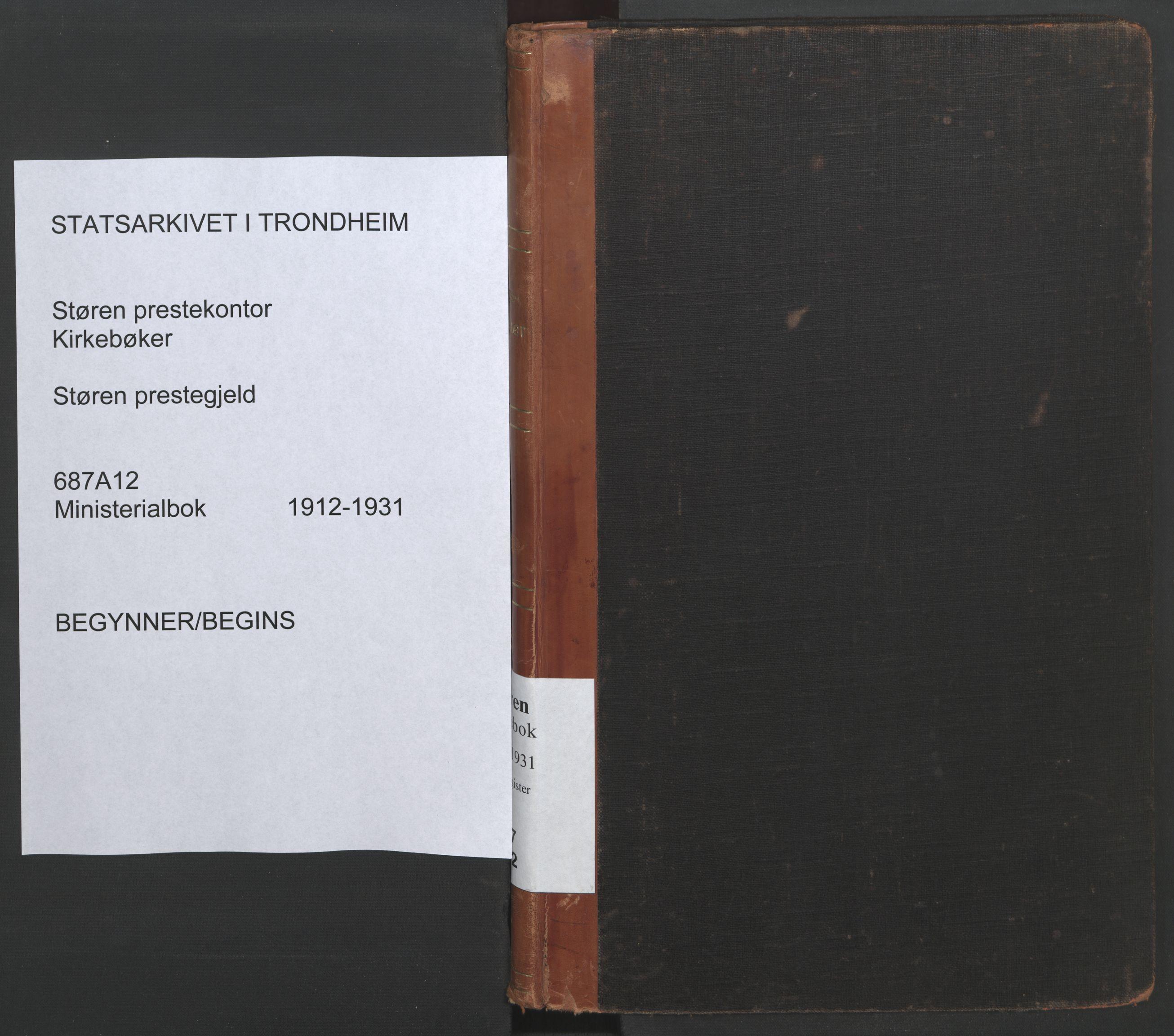 SAT, Ministerialprotokoller, klokkerbøker og fødselsregistre - Sør-Trøndelag, 687/L1006: Dagregister nr. 687A12, 1912-1931
