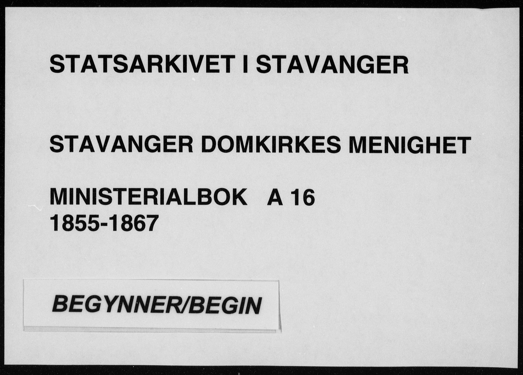 SAST, Domkirken sokneprestkontor, 30/30BA/L0017: Ministerialbok nr. A 16, 1855-1867