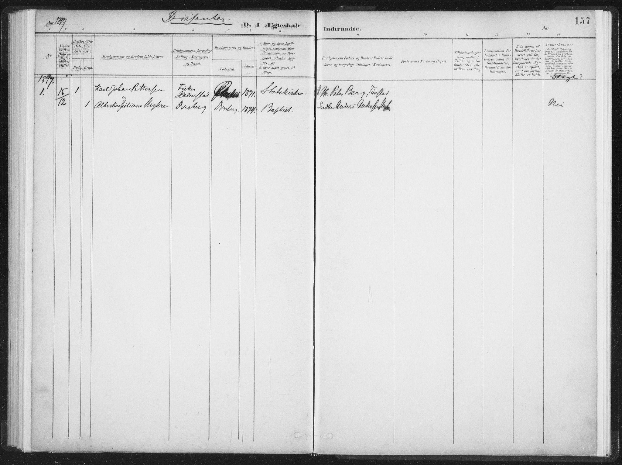 SAT, Ministerialprotokoller, klokkerbøker og fødselsregistre - Nordland, 890/L1286: Ministerialbok nr. 890A01, 1882-1902, s. 157