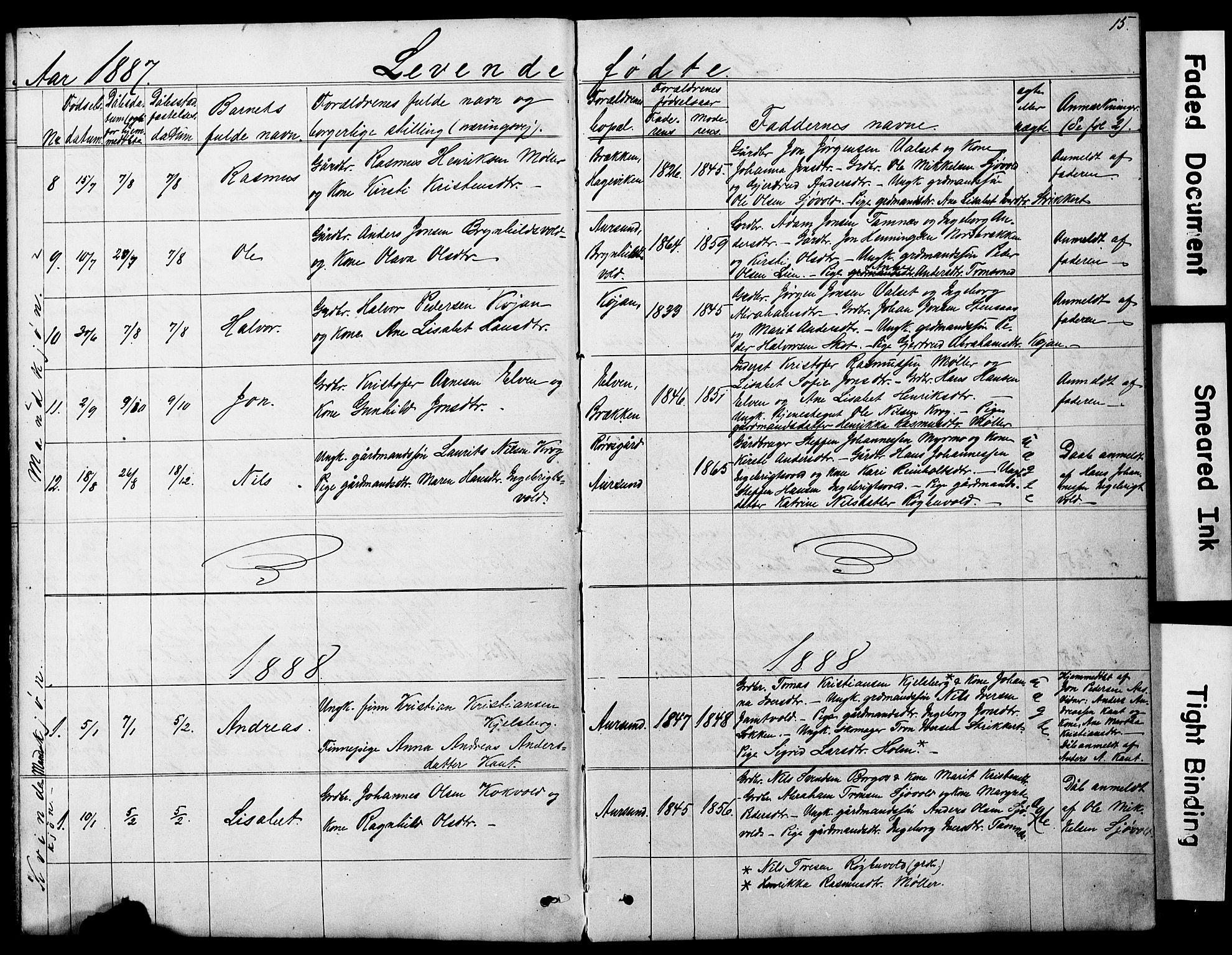 SAT, Ministerialprotokoller, klokkerbøker og fødselsregistre - Sør-Trøndelag, 683/L0949: Klokkerbok nr. 683C01, 1880-1896, s. 15