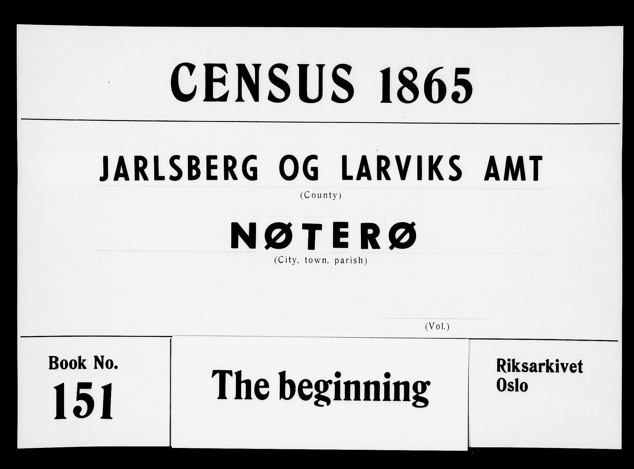 RA, Folketelling 1865 for 0722P Nøtterøy prestegjeld, 1865, s. 1