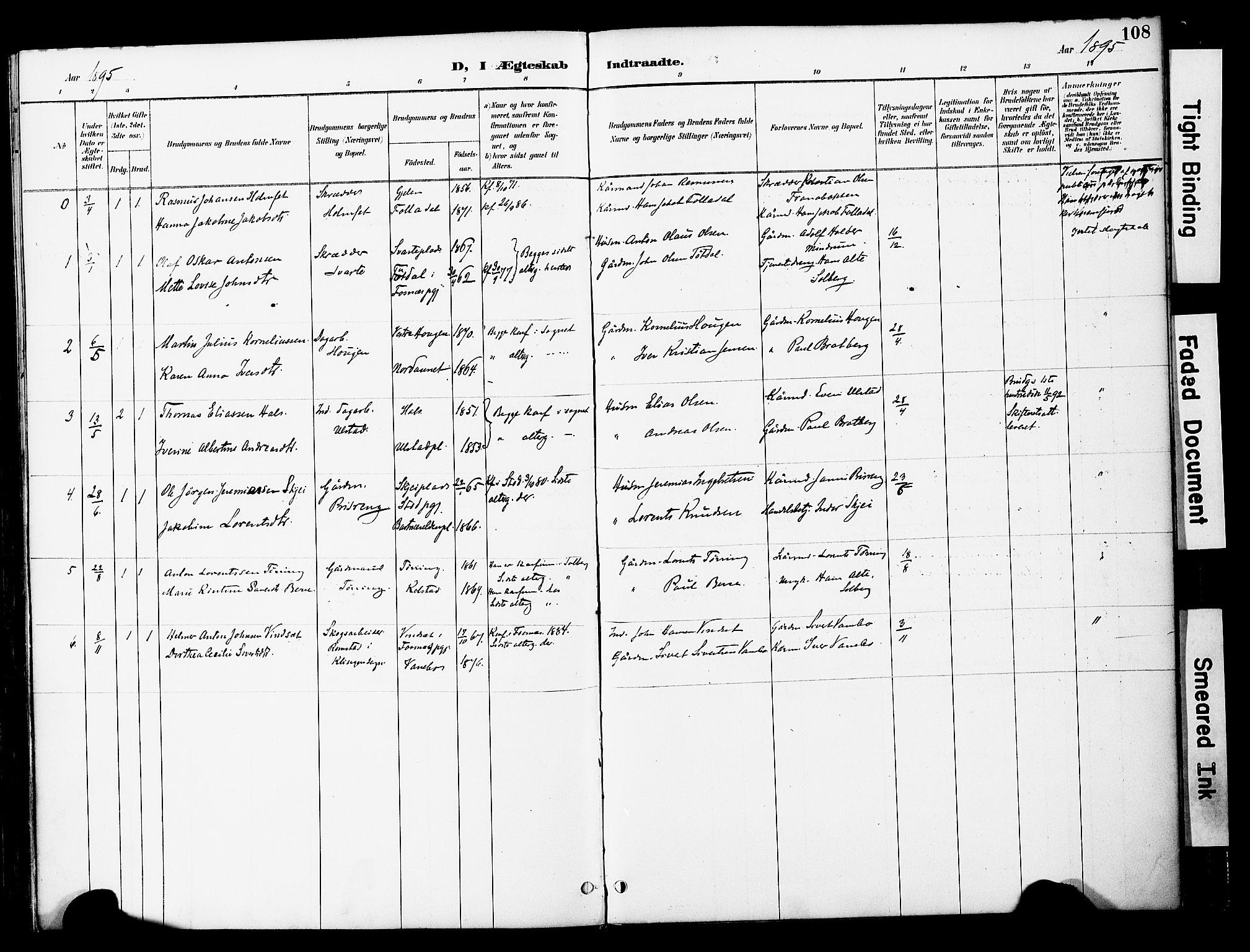SAT, Ministerialprotokoller, klokkerbøker og fødselsregistre - Nord-Trøndelag, 741/L0396: Ministerialbok nr. 741A10, 1889-1901, s. 108