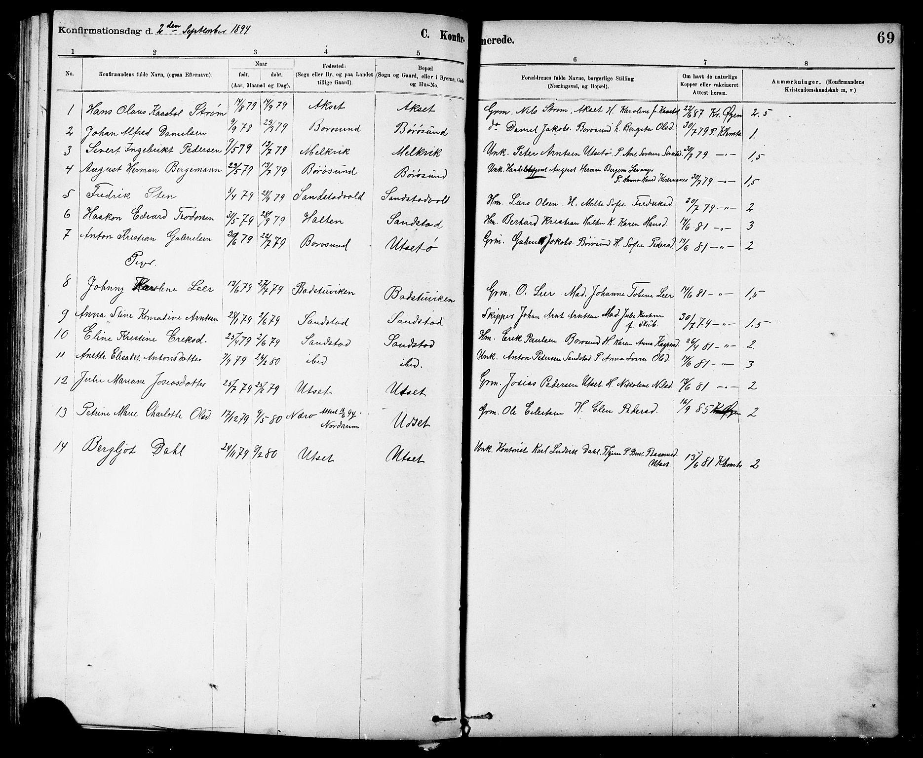 SAT, Ministerialprotokoller, klokkerbøker og fødselsregistre - Sør-Trøndelag, 639/L0573: Klokkerbok nr. 639C01, 1890-1905, s. 69