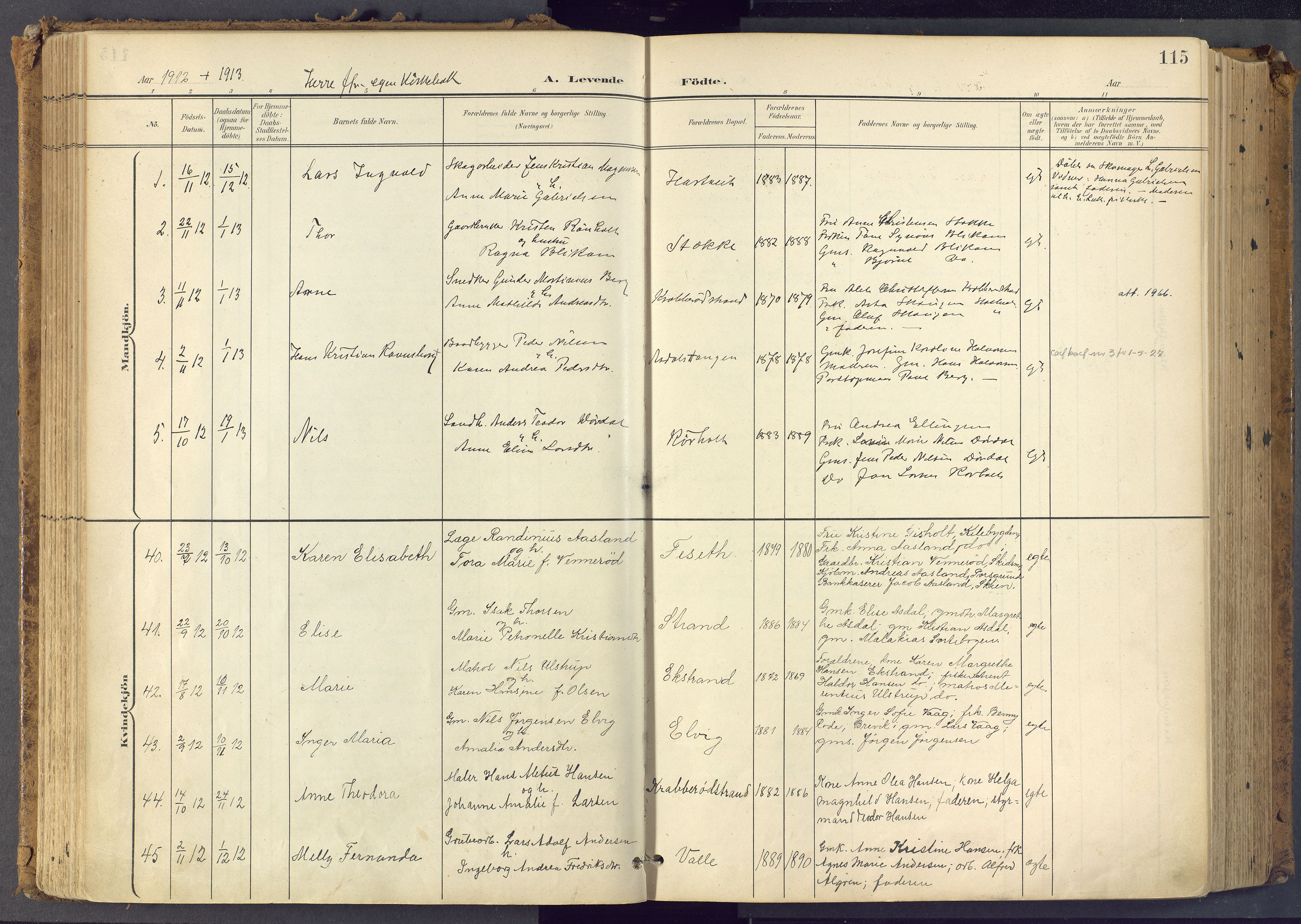 SAKO, Bamble kirkebøker, F/Fa/L0009: Ministerialbok nr. I 9, 1901-1917, s. 115