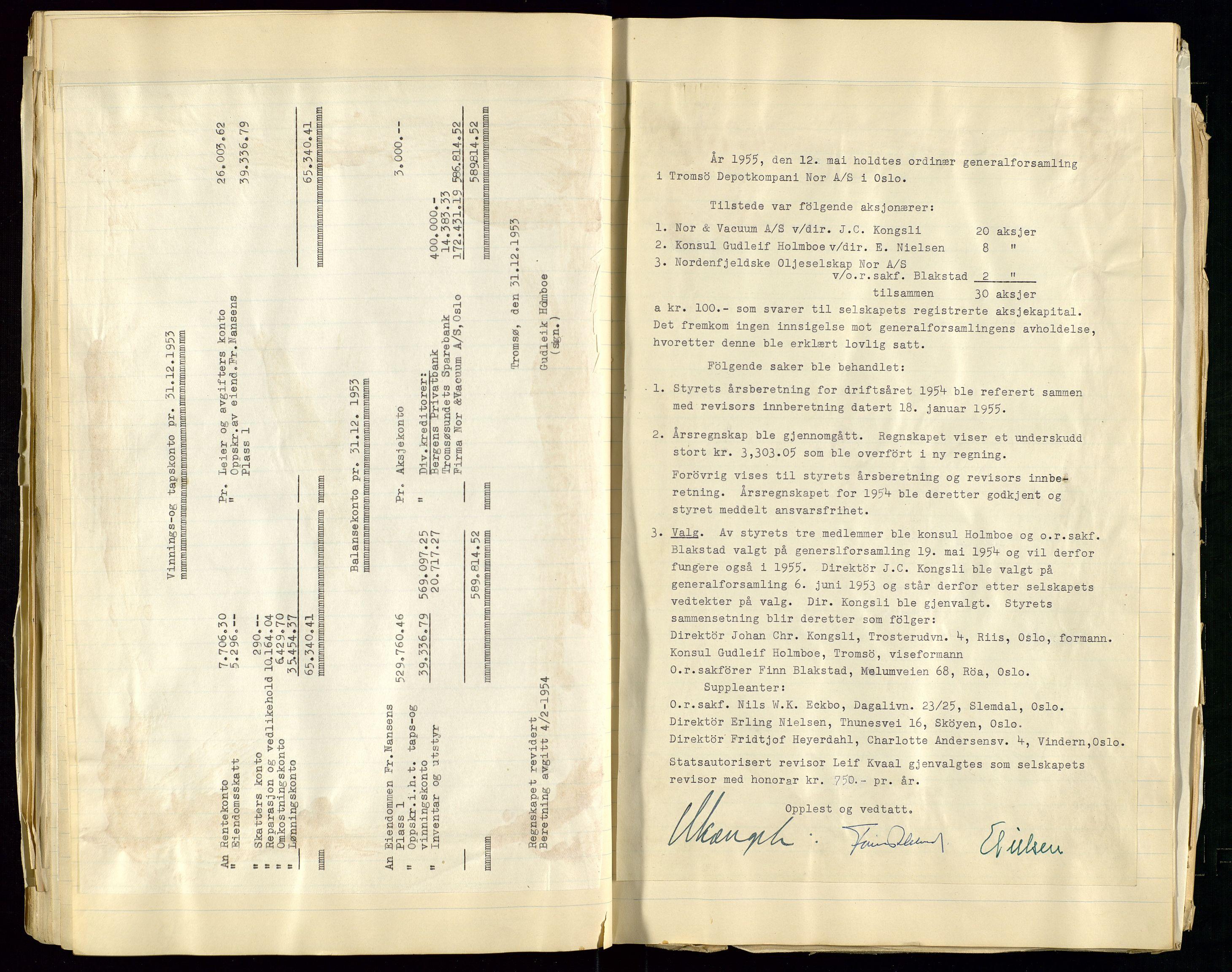 SAST, Pa 1518 - Tromsø Depotkompani NOR A/S, A/L0001: Styreprotokoll, 1939-1959, s. 48
