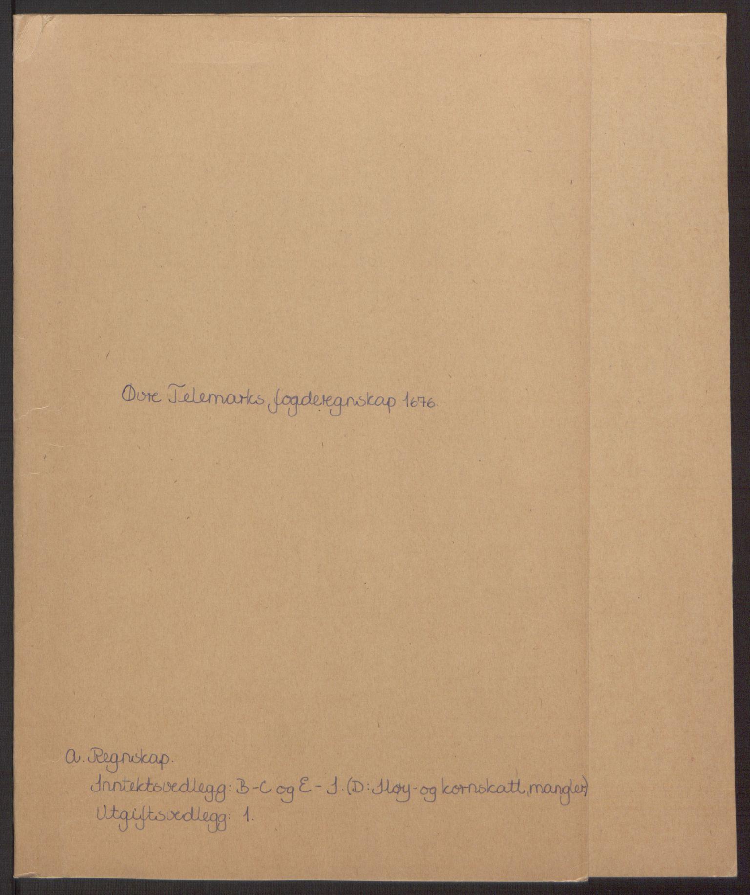 RA, Rentekammeret inntil 1814, Reviderte regnskaper, Fogderegnskap, R35/L2065: Fogderegnskap Øvre og Nedre Telemark, 1676, s. 2