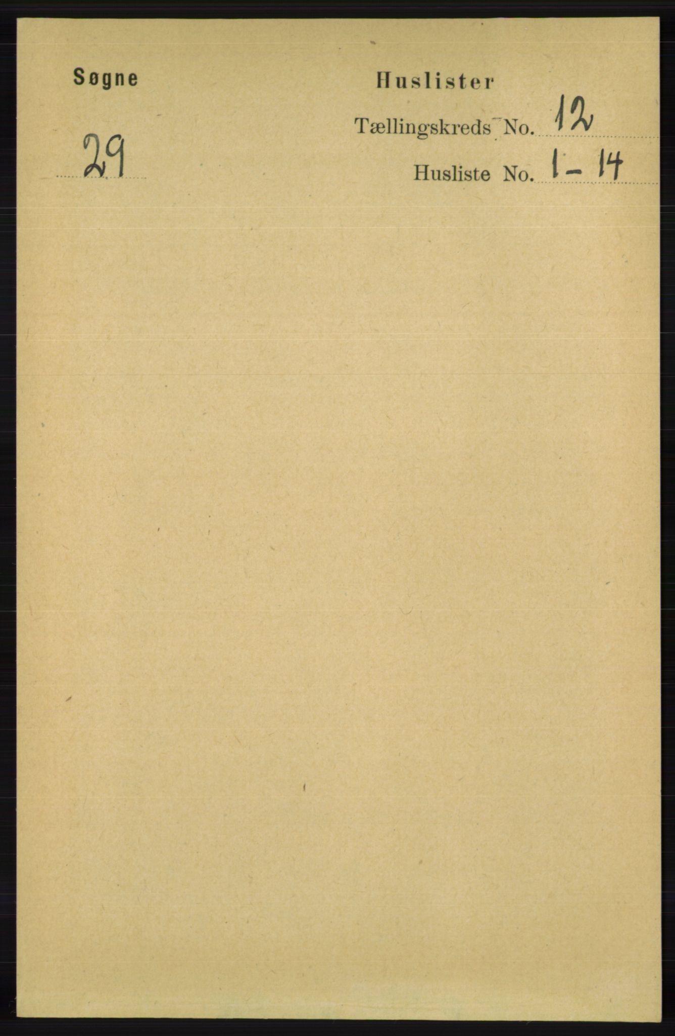 RA, Folketelling 1891 for 1018 Søgne herred, 1891, s. 3103