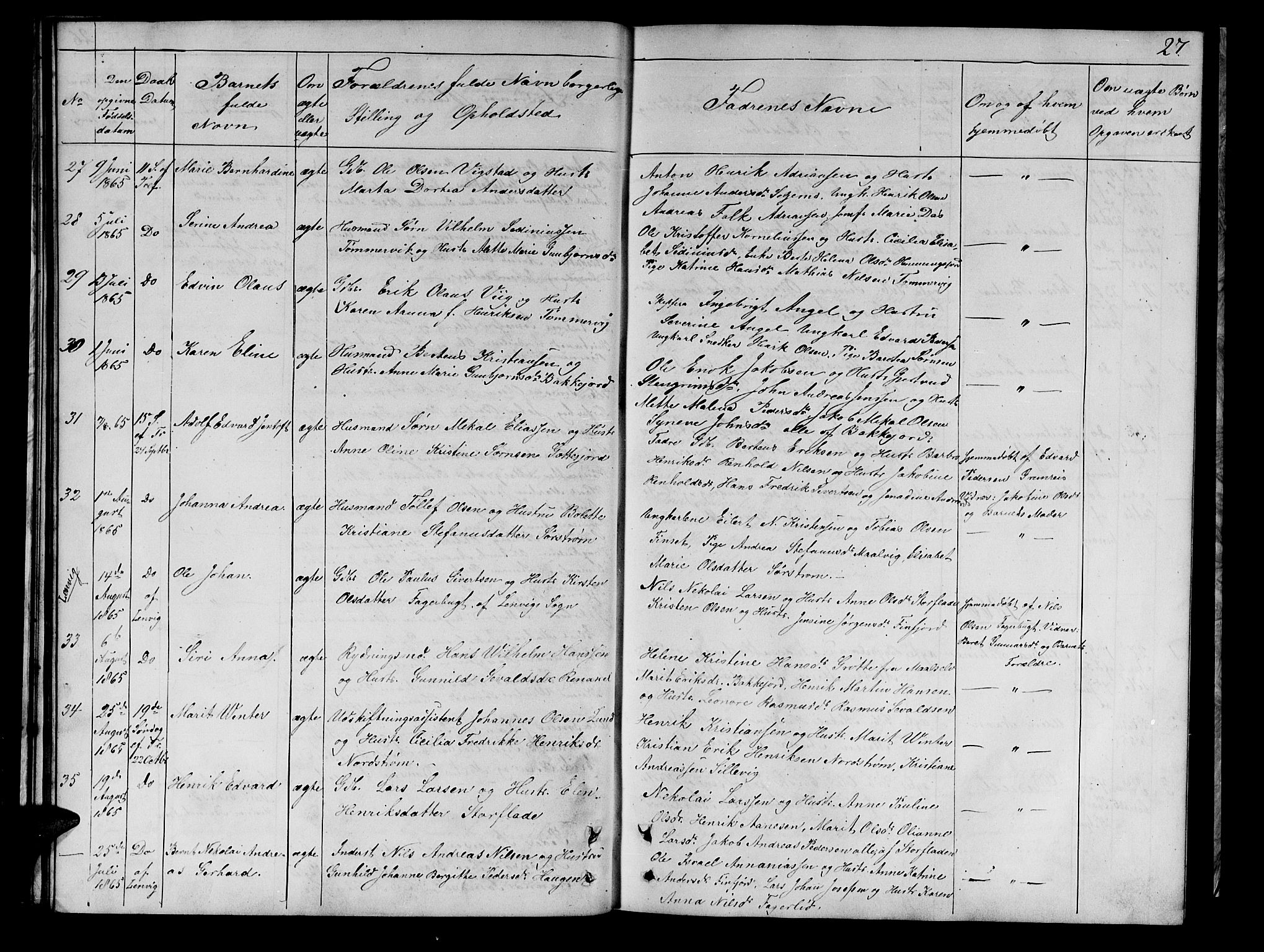 SATØ, Tranøy sokneprestkontor, I/Ia/Iab/L0021klokker: Klokkerbok nr. 21, 1861-1886, s. 27