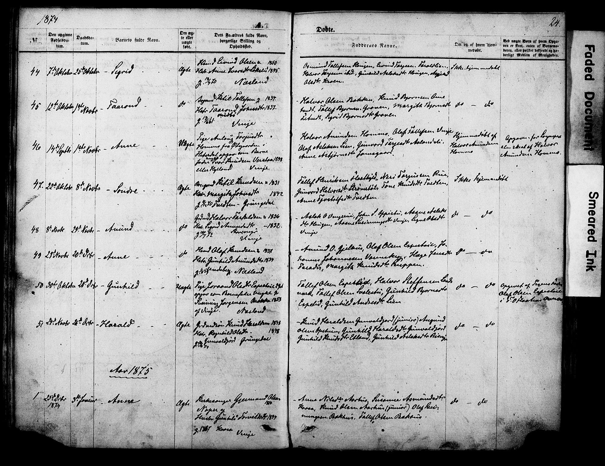 SAKO, Vinje kirkebøker, F/Fa/L0005: Ministerialbok nr. I 5, 1870-1886, s. 24