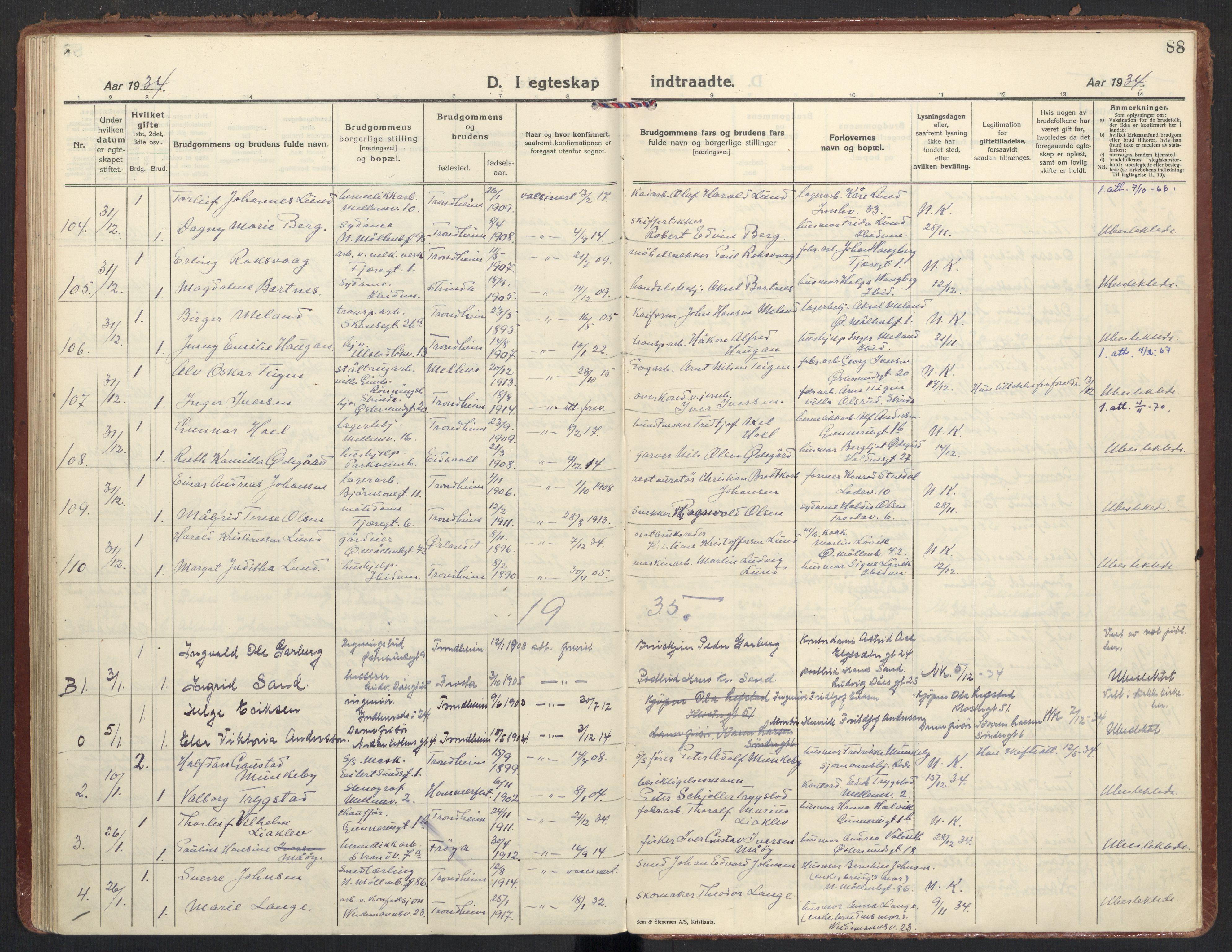 SAT, Ministerialprotokoller, klokkerbøker og fødselsregistre - Sør-Trøndelag, 605/L0249: Ministerialbok nr. 605A11, 1925-1936, s. 88