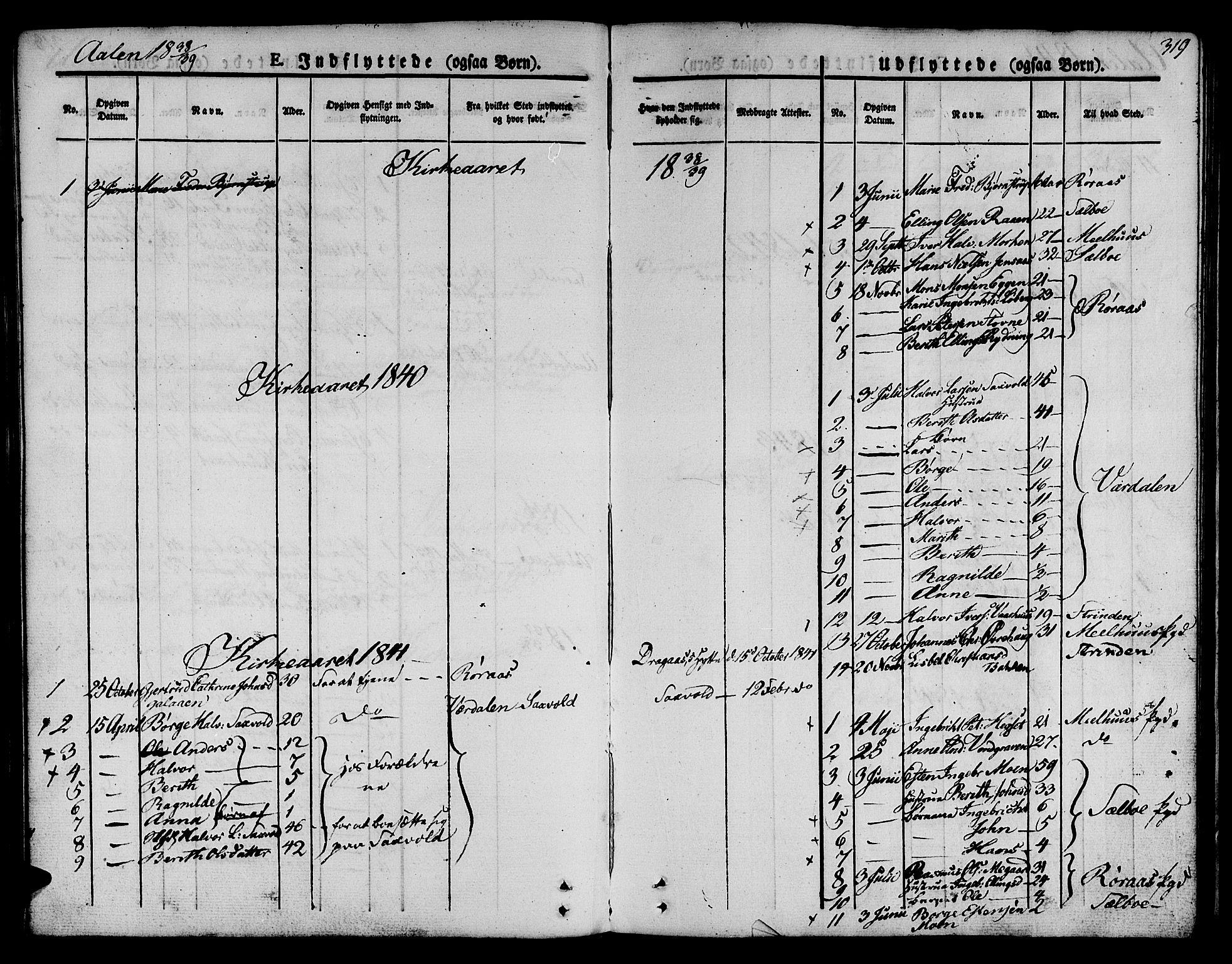 SAT, Ministerialprotokoller, klokkerbøker og fødselsregistre - Sør-Trøndelag, 685/L0962: Ministerialbok nr. 685A05 /3, 1829-1845, s. 319