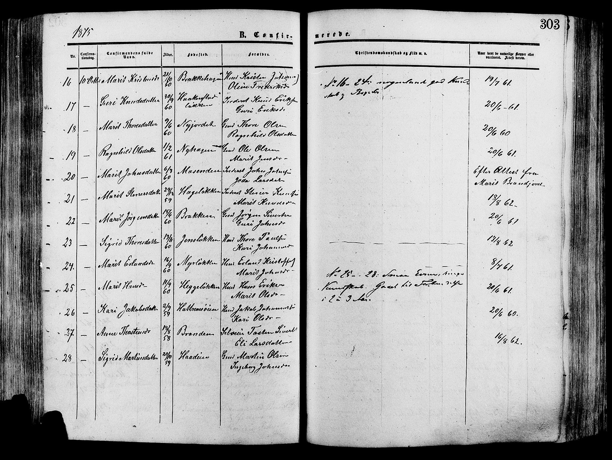 SAH, Lesja prestekontor, Ministerialbok nr. 8, 1854-1880, s. 303