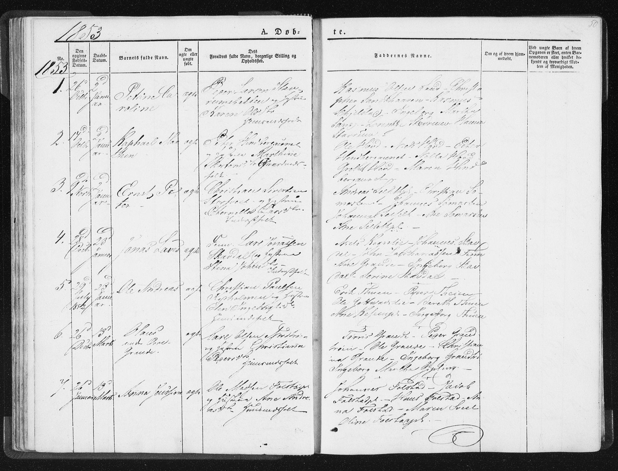 SAT, Ministerialprotokoller, klokkerbøker og fødselsregistre - Nord-Trøndelag, 744/L0418: Ministerialbok nr. 744A02, 1843-1866, s. 50