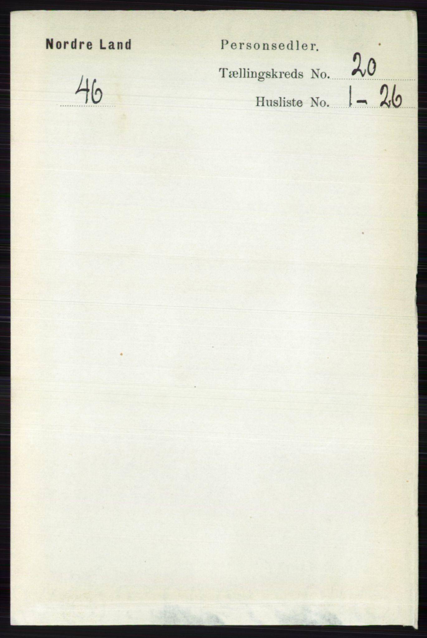 RA, Folketelling 1891 for 0538 Nordre Land herred, 1891, s. 4870