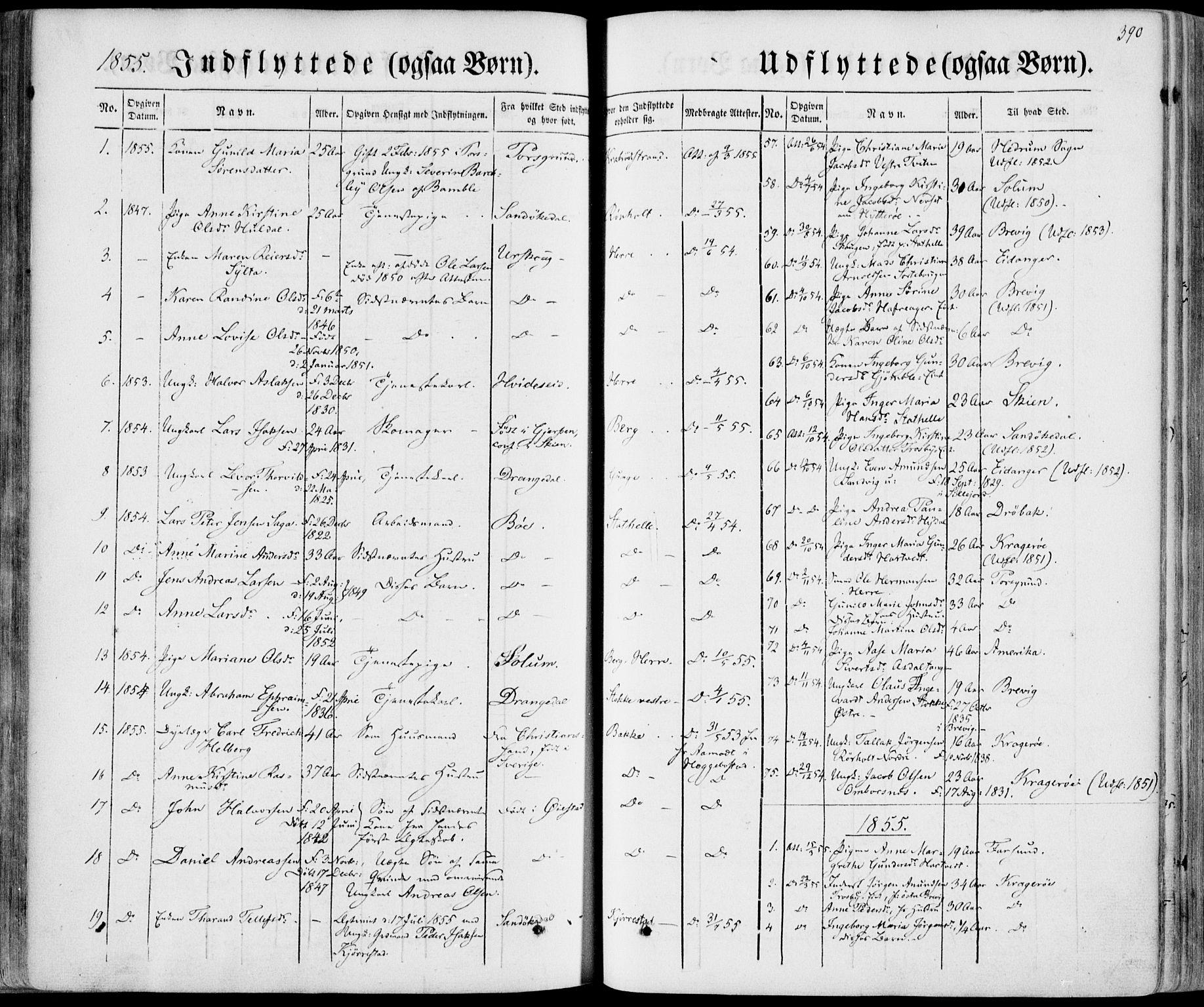 SAKO, Bamble kirkebøker, F/Fa/L0005: Ministerialbok nr. I 5, 1854-1869, s. 390