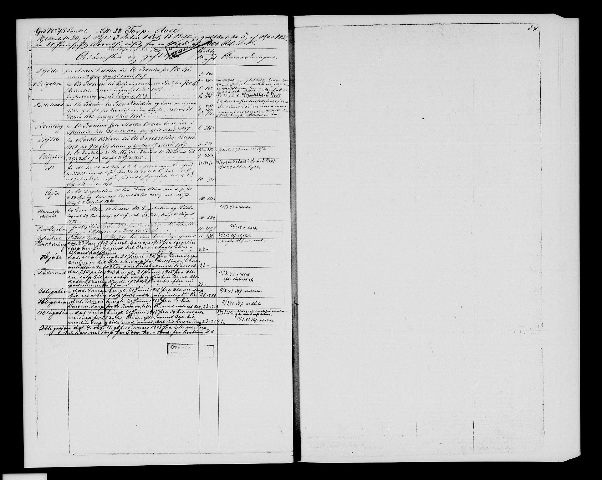 SAH, Sør-Hedmark sorenskriveri, H/Ha/Hac/Hacc/L0001: Panteregister nr. 3.1, 1855-1943, s. 34