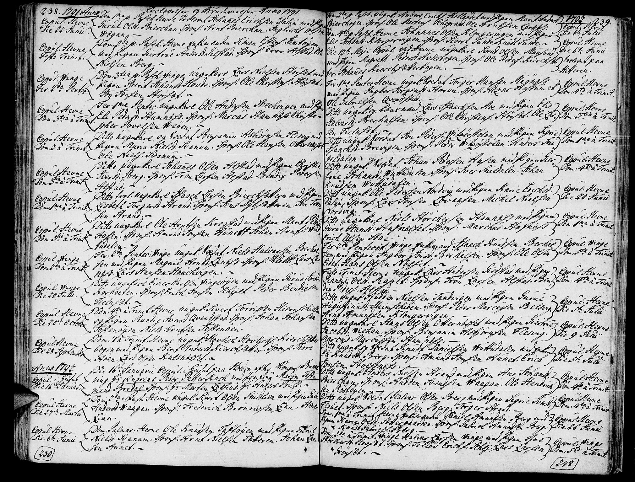 SAT, Ministerialprotokoller, klokkerbøker og fødselsregistre - Sør-Trøndelag, 630/L0489: Ministerialbok nr. 630A02, 1757-1794, s. 238-239