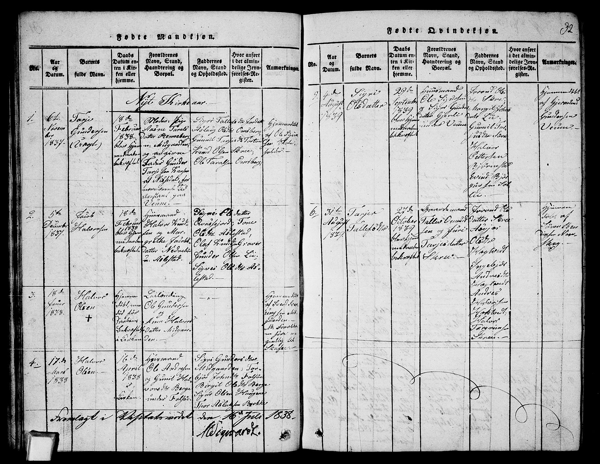 SAKO, Fyresdal kirkebøker, G/Ga/L0003: Klokkerbok nr. I 3, 1815-1863, s. 32