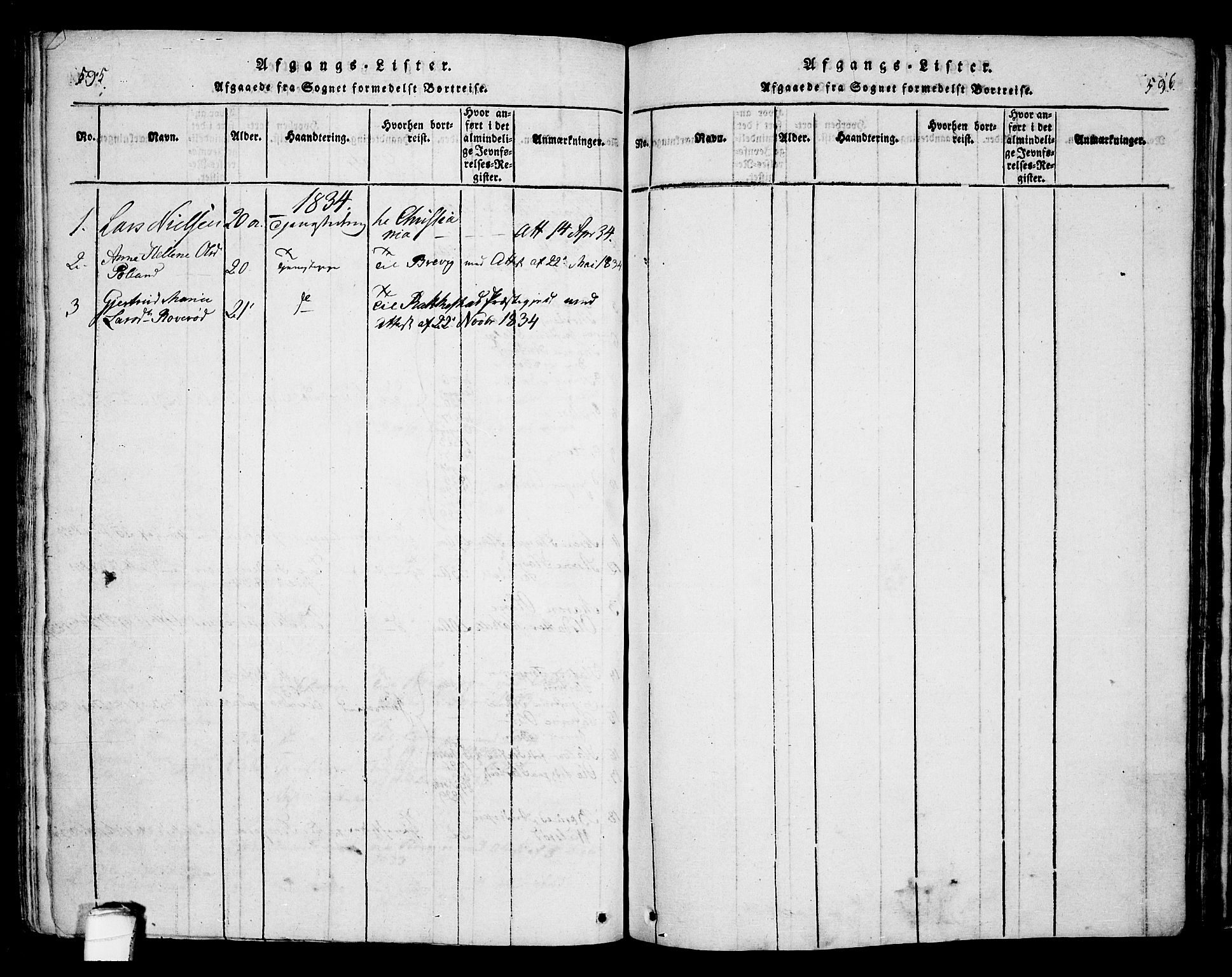 SAKO, Bamble kirkebøker, F/Fa/L0003: Ministerialbok nr. I 3 /1, 1814-1834, s. 595-596