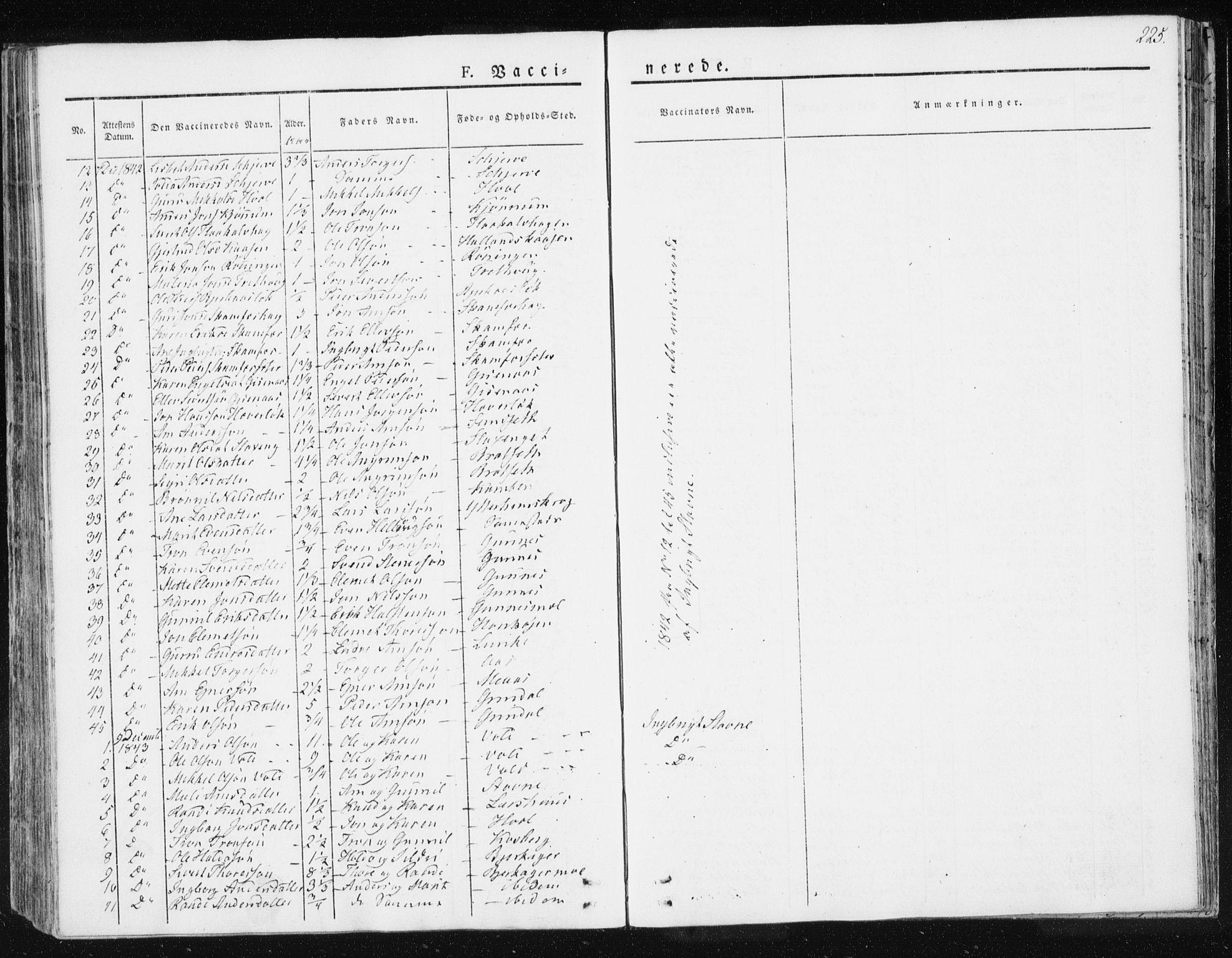 SAT, Ministerialprotokoller, klokkerbøker og fødselsregistre - Sør-Trøndelag, 674/L0869: Ministerialbok nr. 674A01, 1829-1860, s. 225