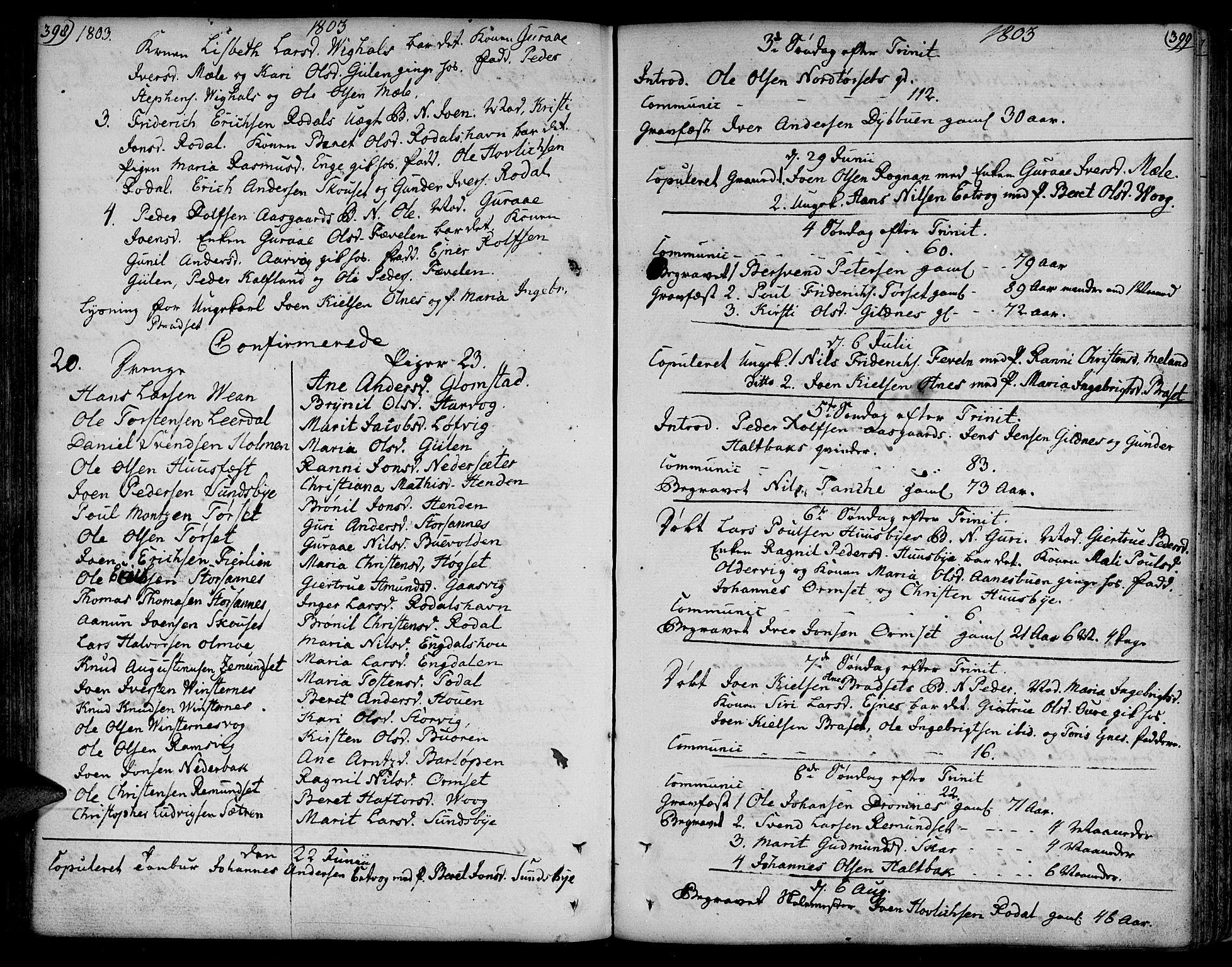 SAT, Ministerialprotokoller, klokkerbøker og fødselsregistre - Møre og Romsdal, 578/L0902: Ministerialbok nr. 578A01, 1772-1819, s. 398-399
