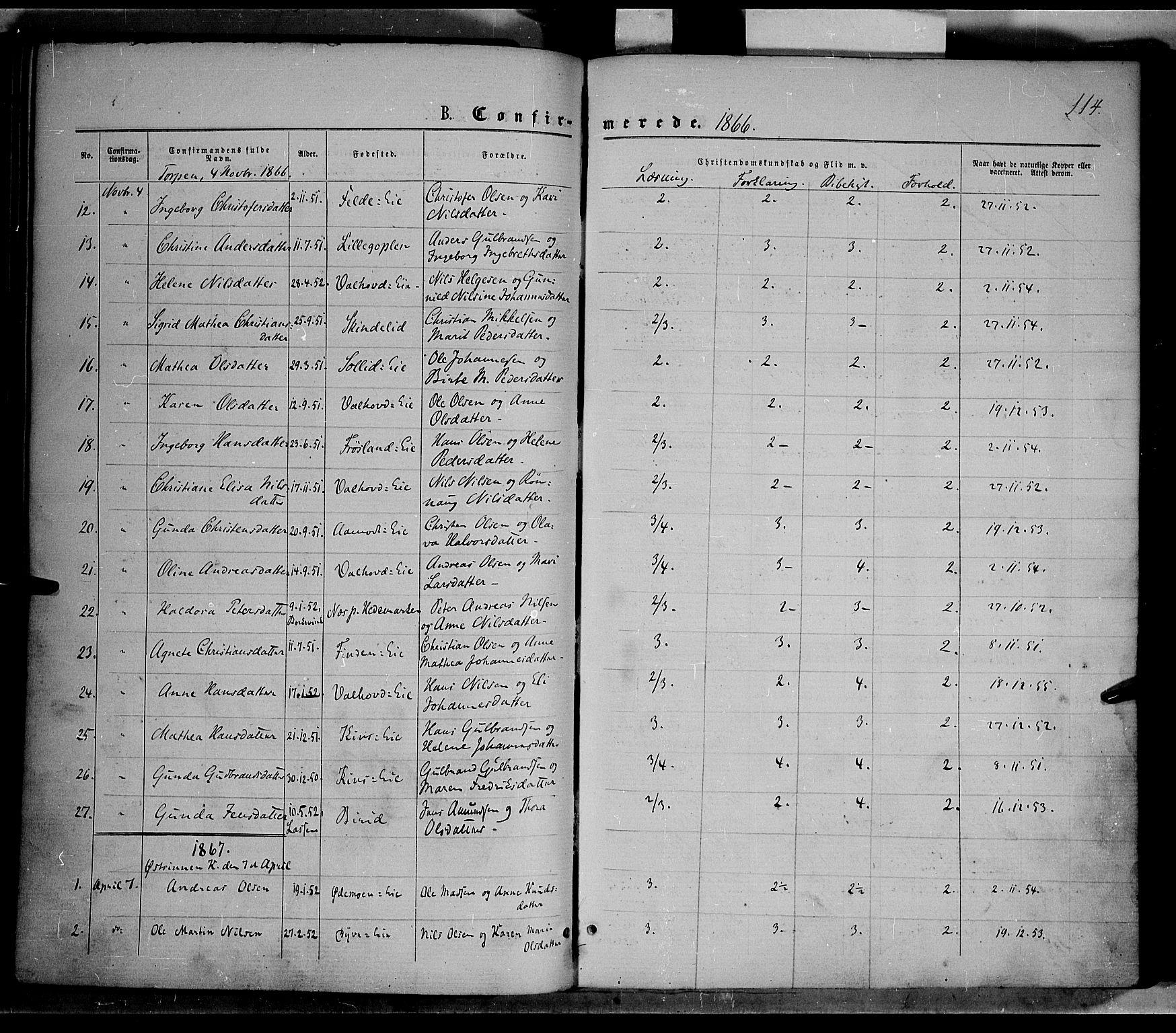 SAH, Nordre Land prestekontor, Ministerialbok nr. 1, 1860-1871, s. 114