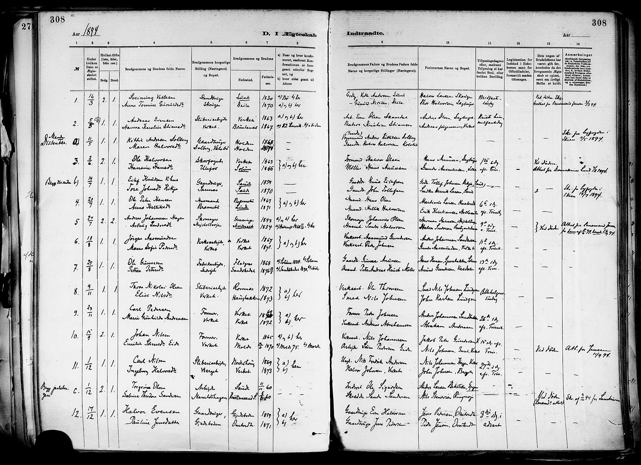 SAKO, Holla kirkebøker, F/Fa/L0008: Ministerialbok nr. 8, 1882-1897, s. 308